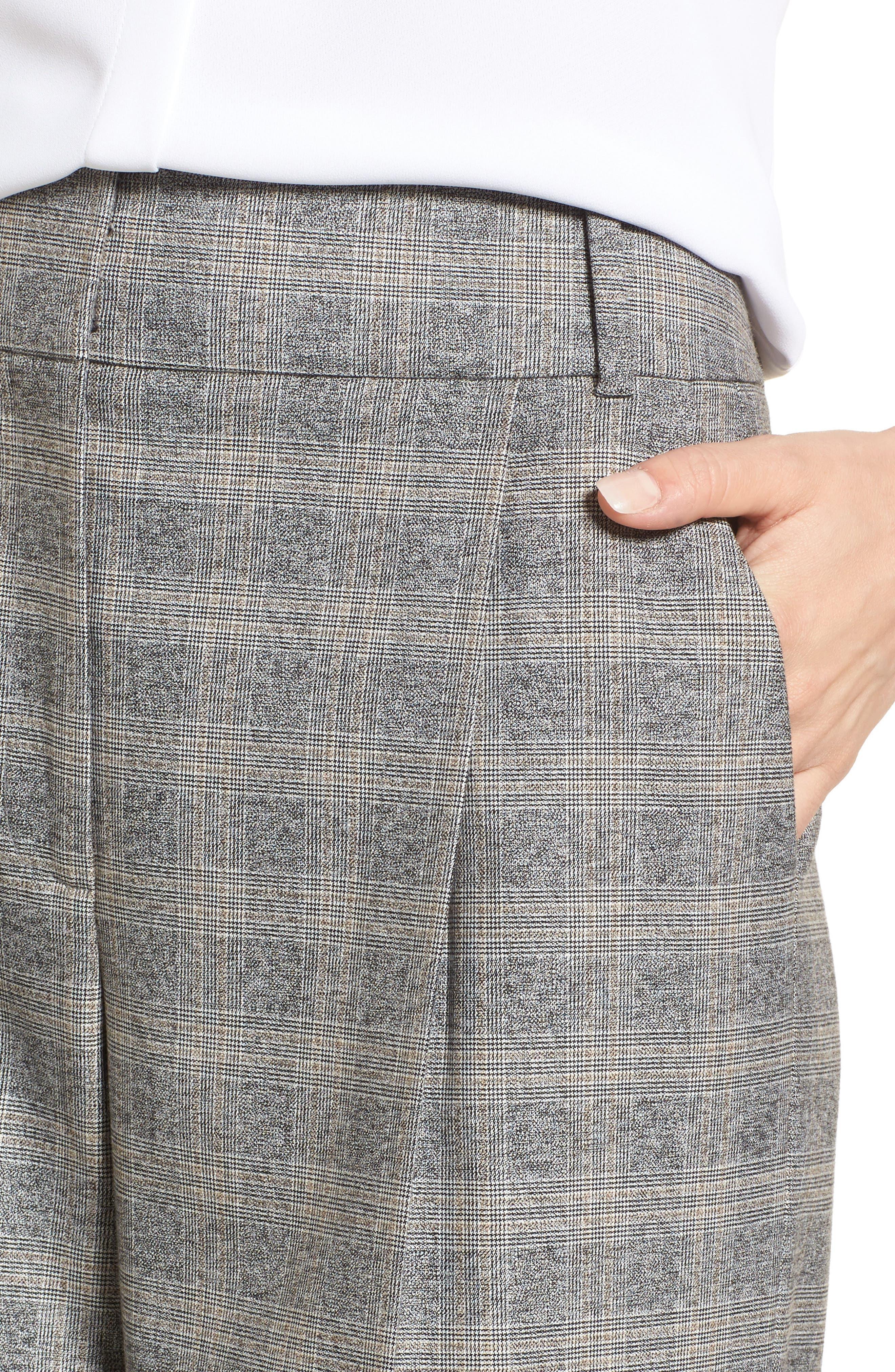 Check Plaid Wide Leg Suit Pants,                             Alternate thumbnail 4, color,                             Grey Check