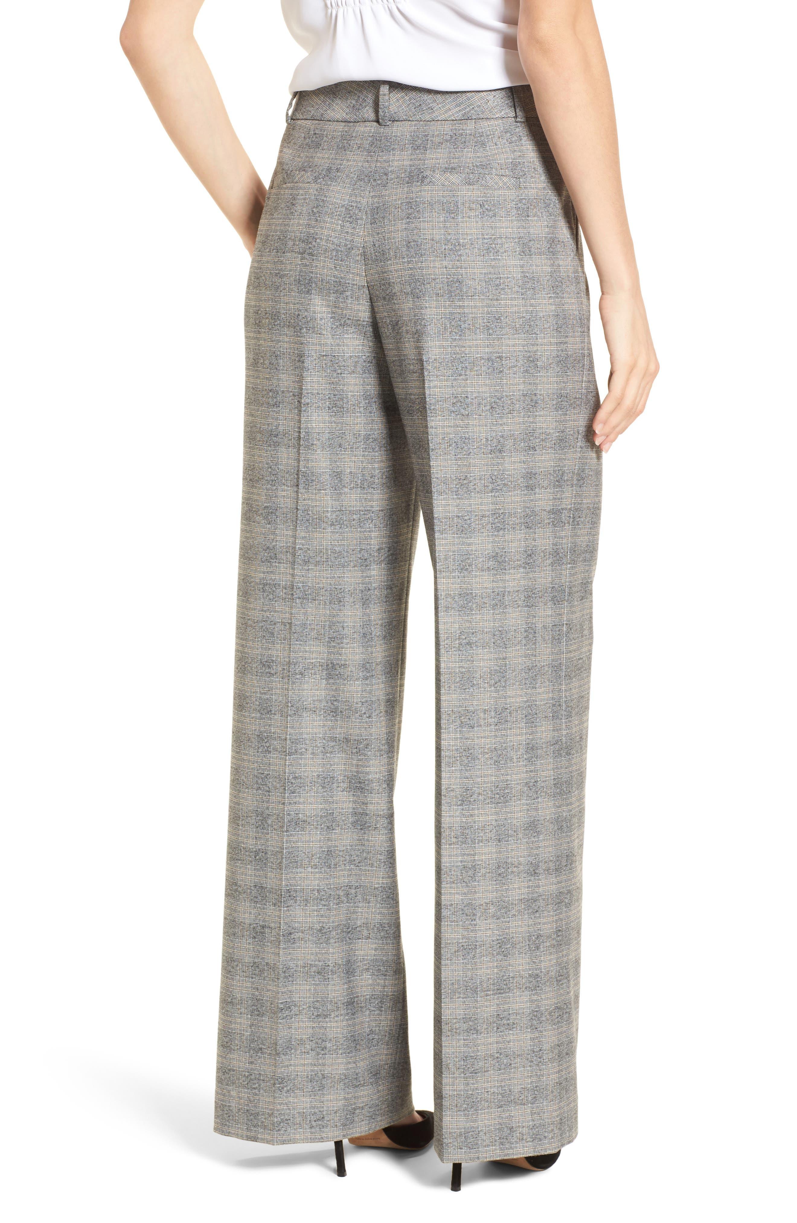 Check Plaid Wide Leg Suit Pants,                             Alternate thumbnail 2, color,                             Grey Check