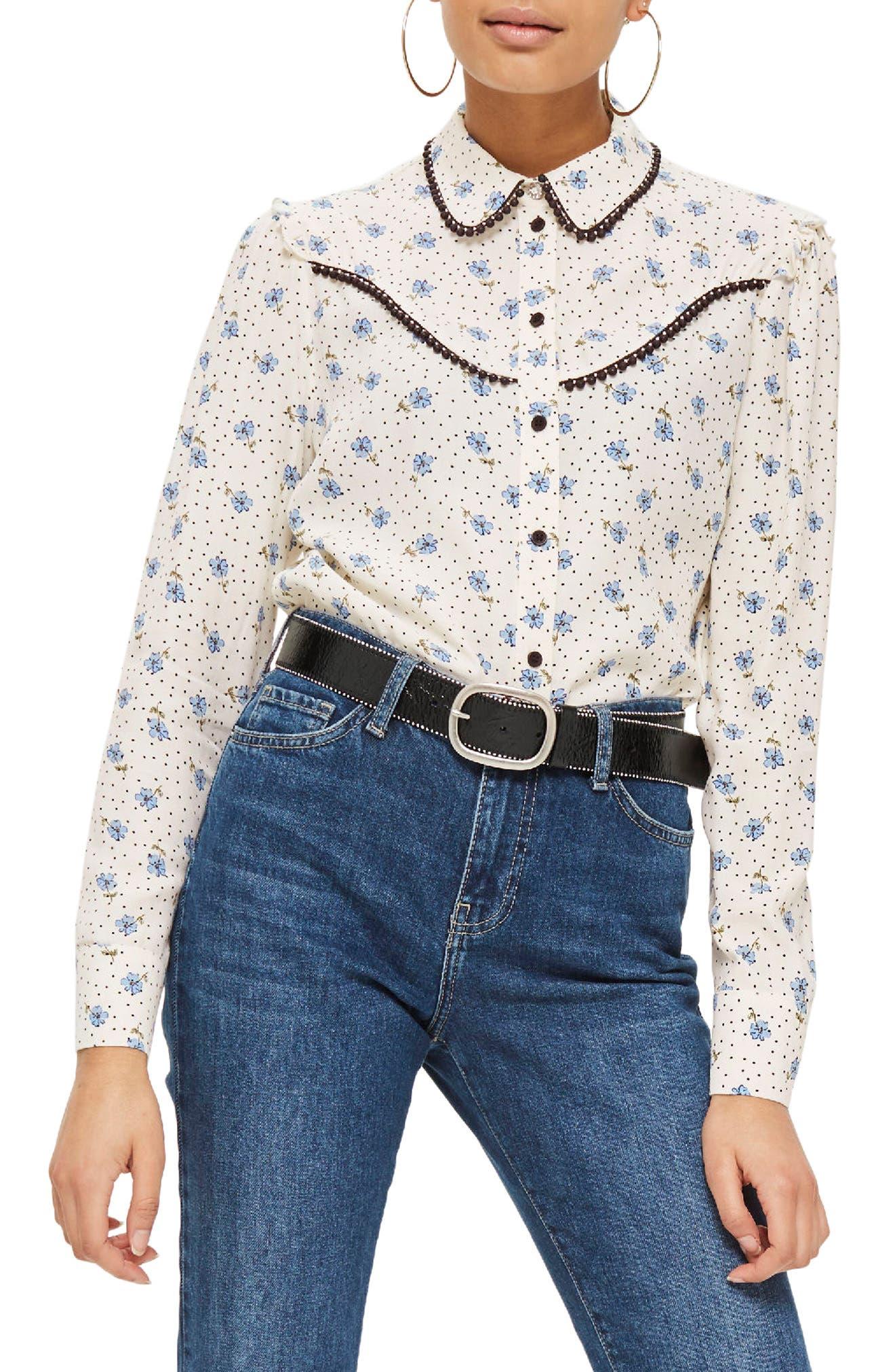 Topshop Rodeo Embellished Floral Spot Shirt