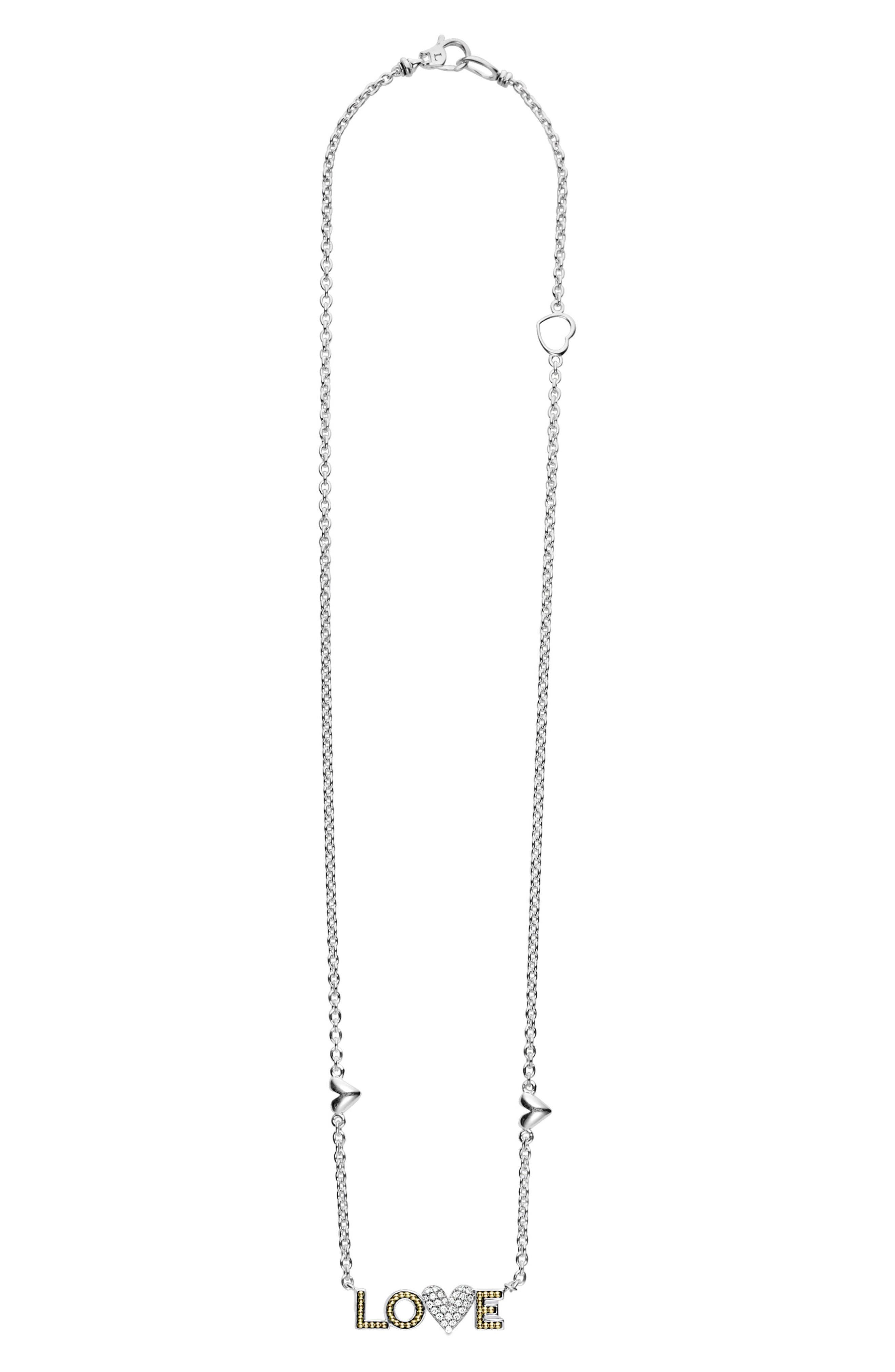 Beloved Diamond Love Pendant Necklace,                             Main thumbnail 1, color,                             Silver/ Diamond