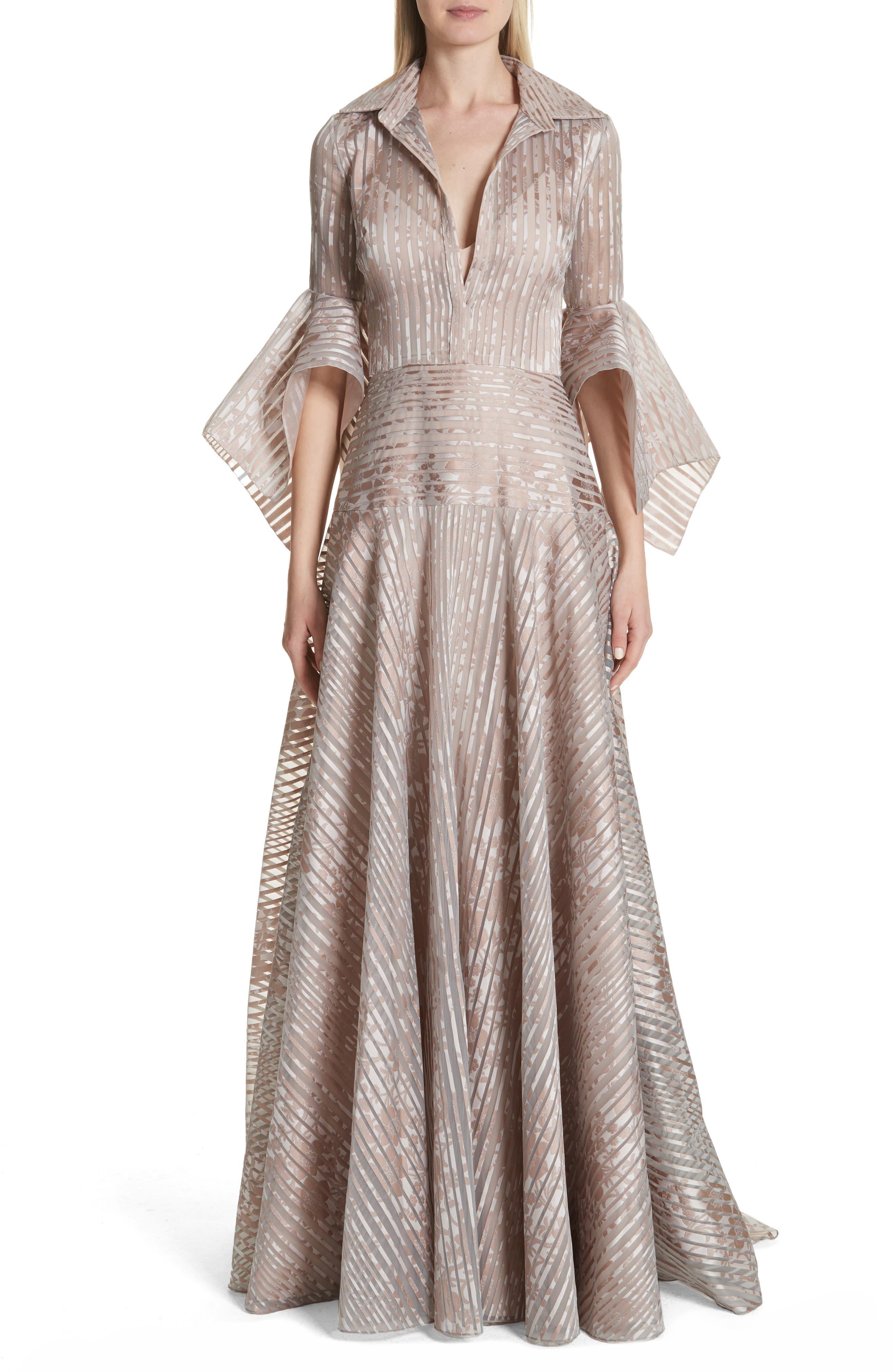 Platinum Metallic Texture Stripe Organza Gown,                             Main thumbnail 1, color,                             Mauve
