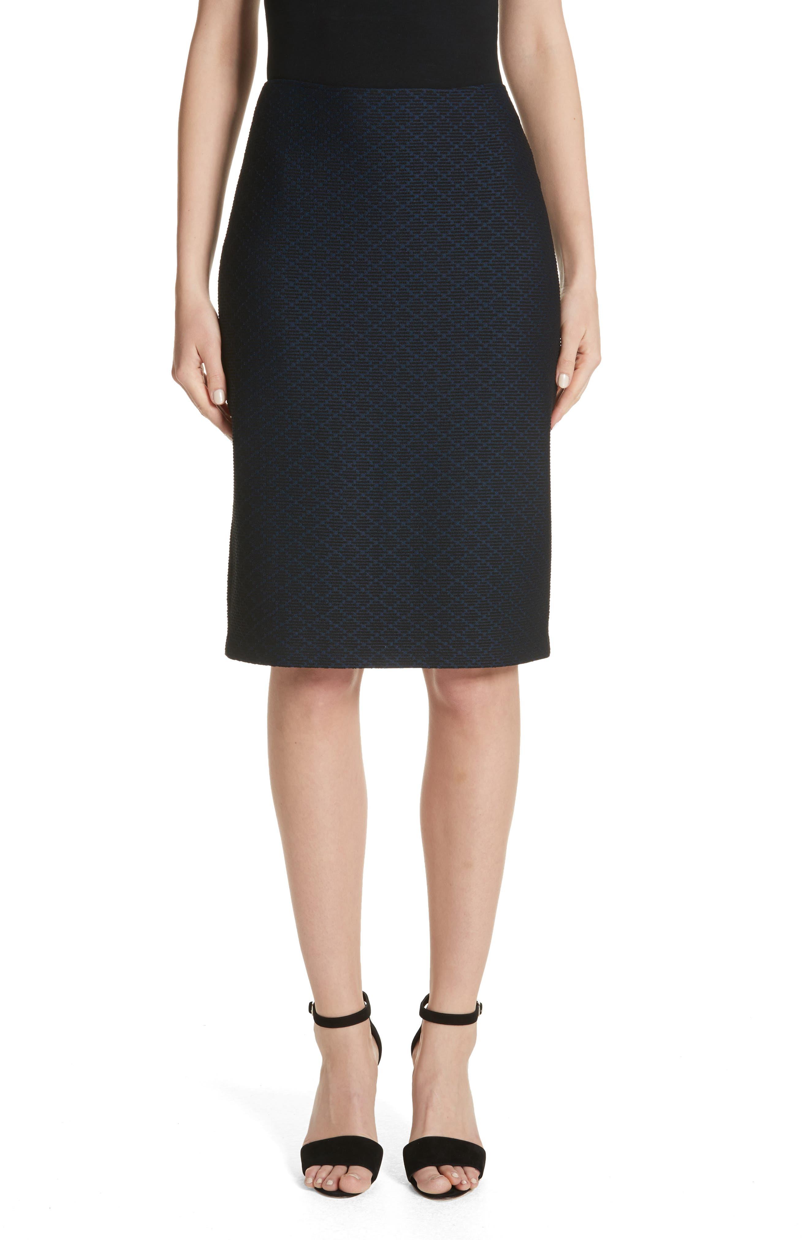 Main Image - Emporio Armani Diamond Knit Jacquard Pencil Skirt
