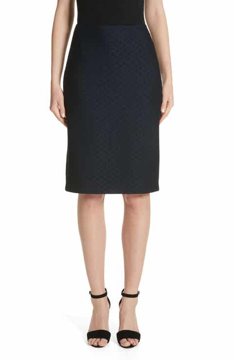 Emporio Armani Diamond Knit Jacquard Pencil Skirt