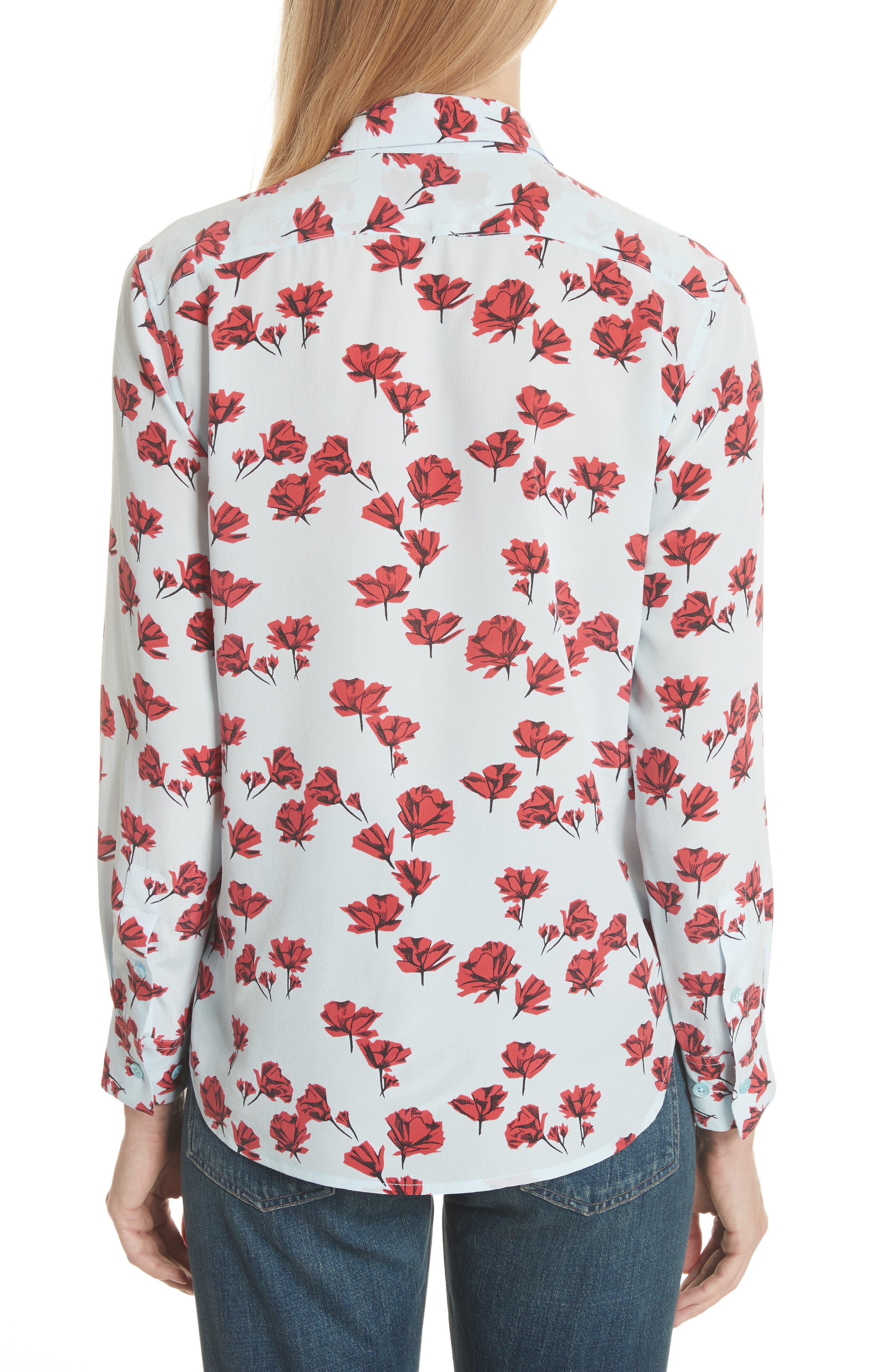 Leema Floral Silk Shirt,                             Alternate thumbnail 2, color,                             Cool Breeze