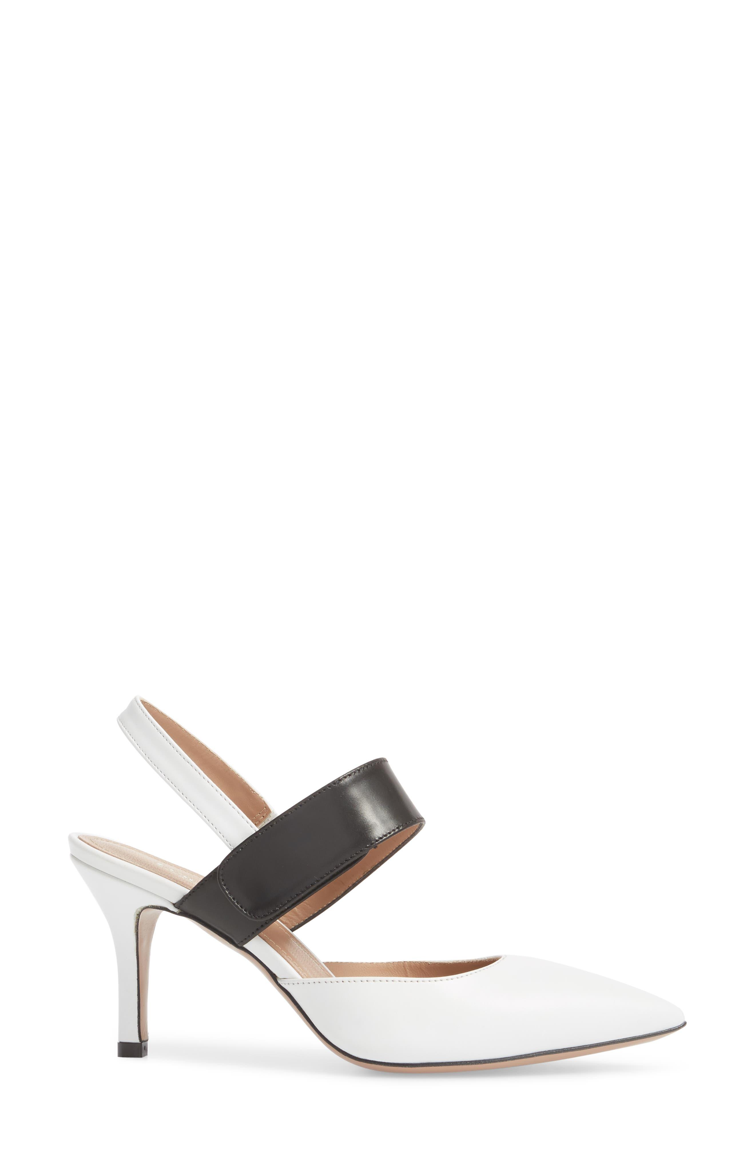 Viola Pump,                             Alternate thumbnail 3, color,                             White/ Black Leather