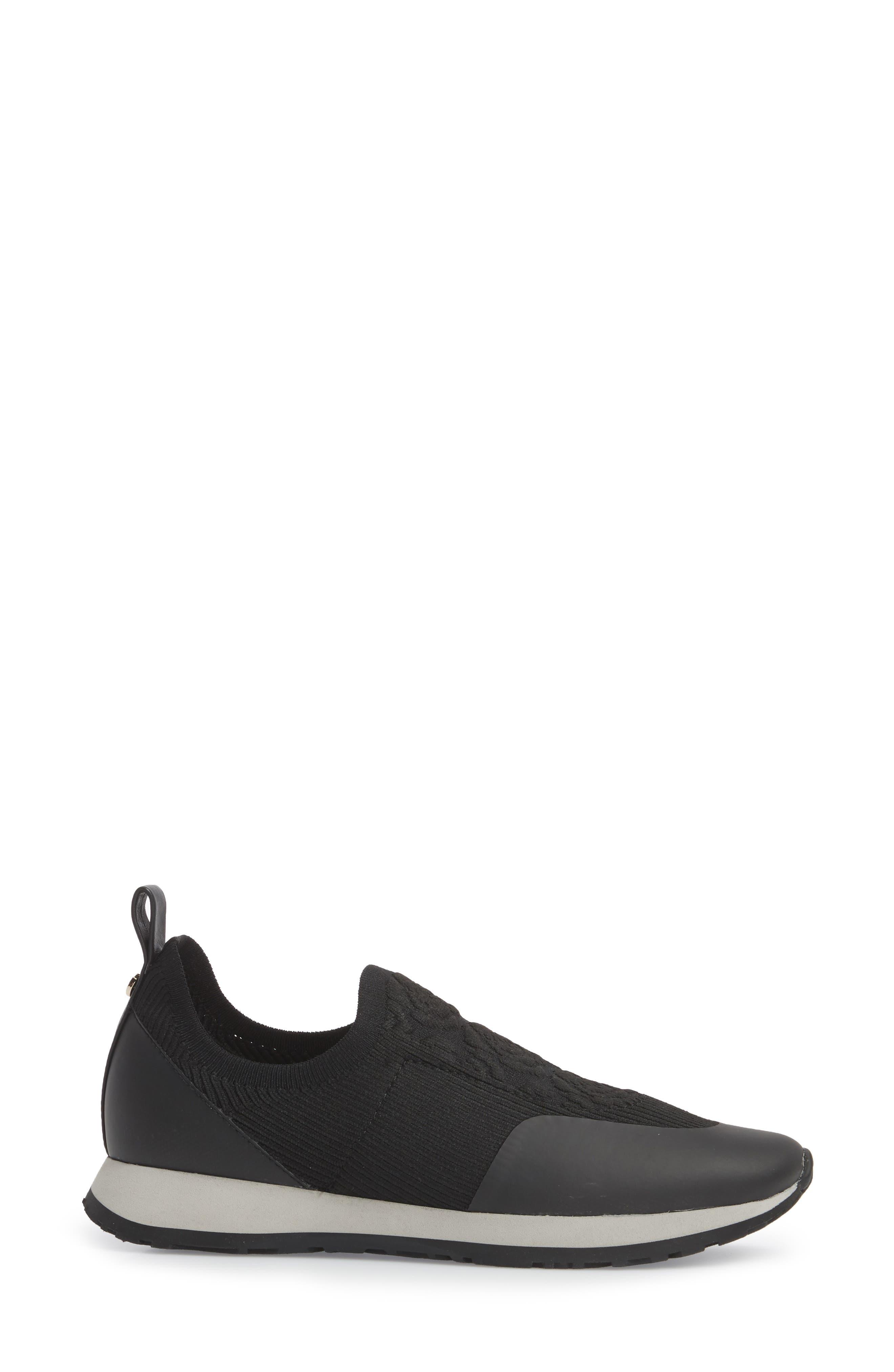 Cara Slip-On Sneaker,                             Alternate thumbnail 3, color,                             Black Fabric