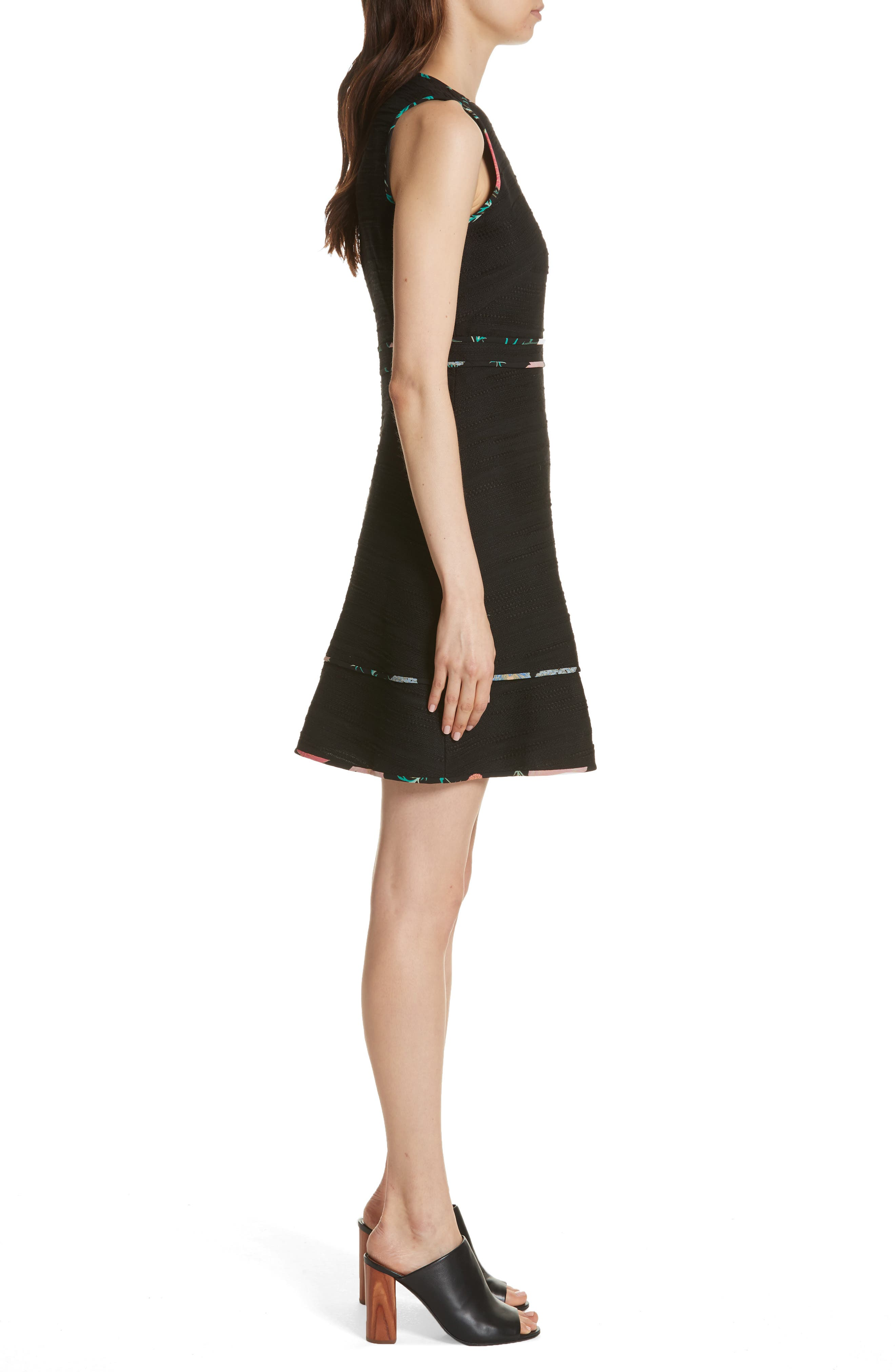 blossom trim tweed dress,                             Alternate thumbnail 3, color,                             Black