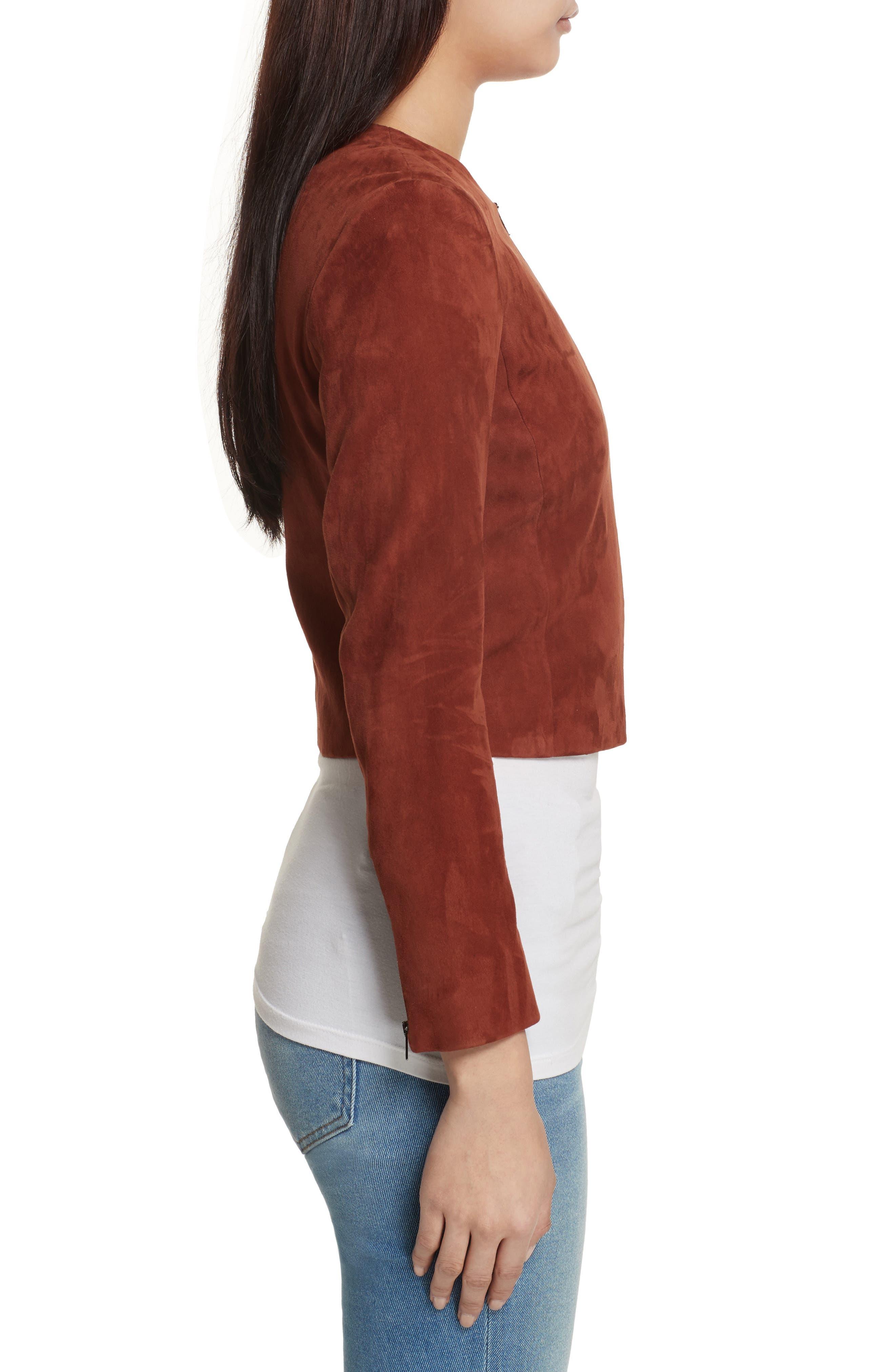 Morene Stretch Suede Jacket,                             Alternate thumbnail 3, color,                             Brown Russet
