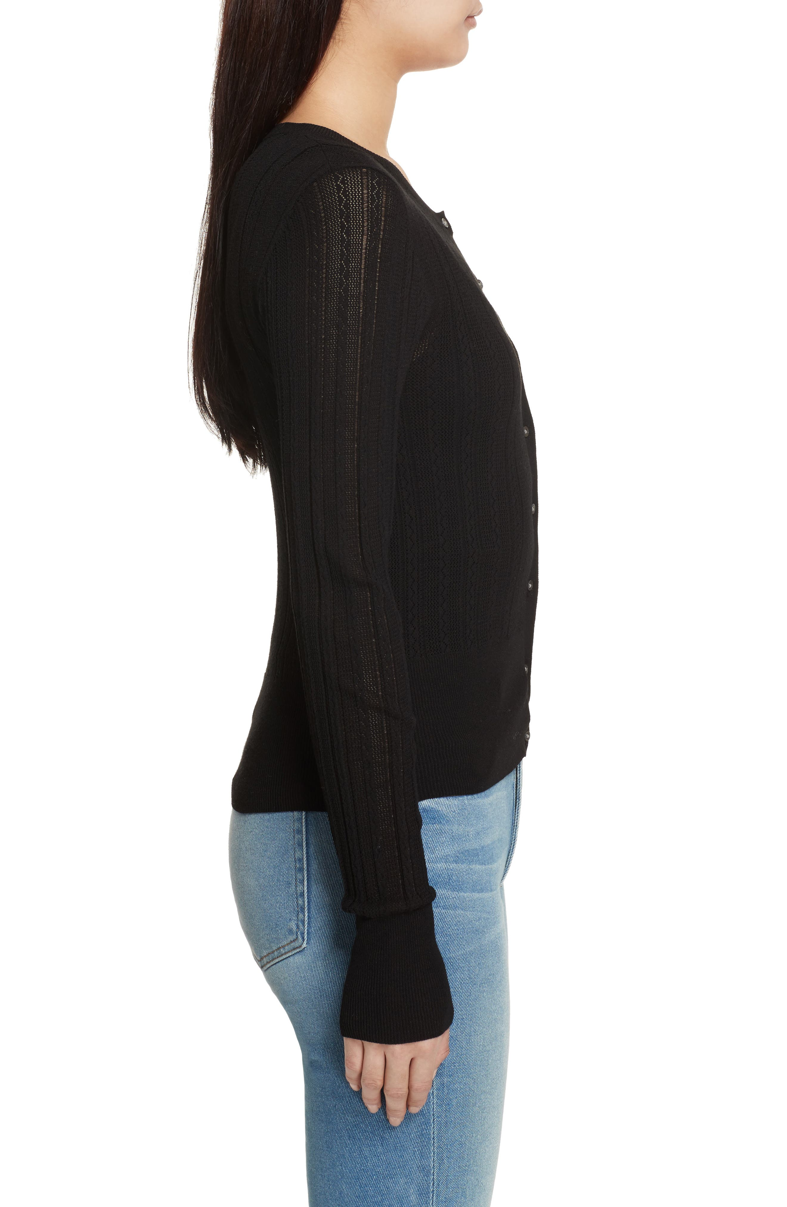 Prosecco Lace Knit Cardigan,                             Alternate thumbnail 3, color,                             Black