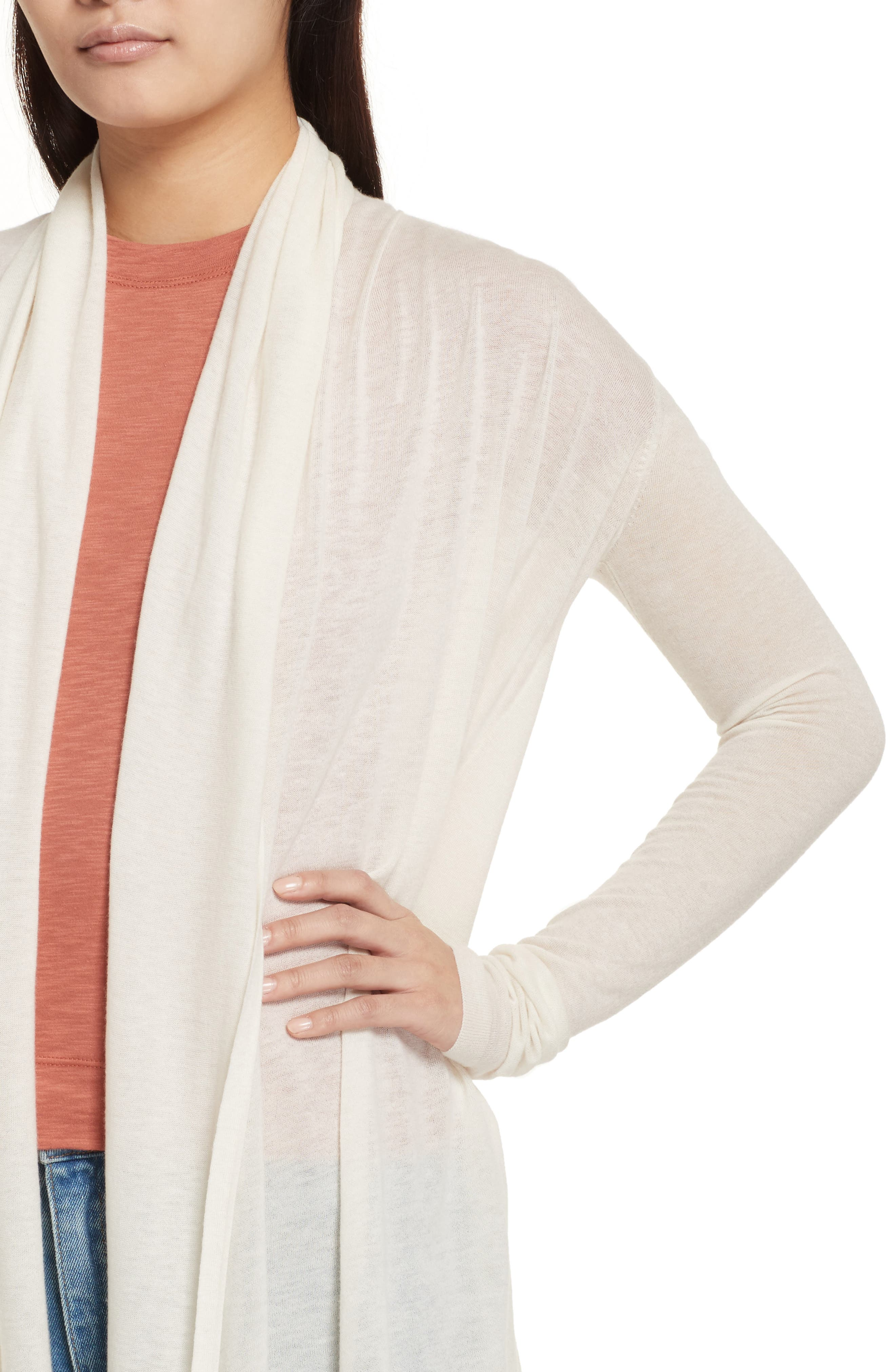 Featherweight Cashmere Cardigan,                             Alternate thumbnail 4, color,                             Ivory