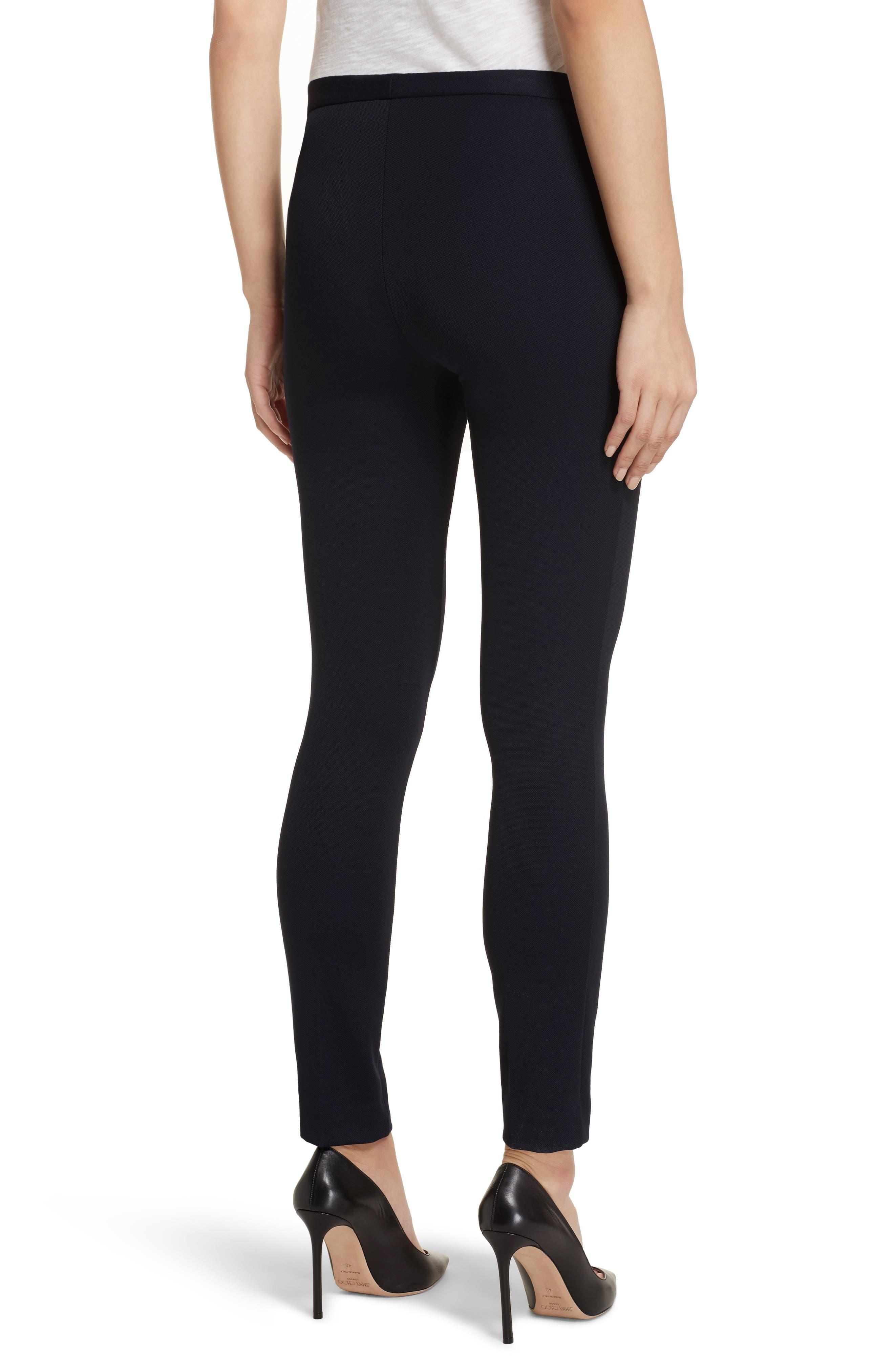 Piqué Skinny Pants,                             Alternate thumbnail 2, color,                             Black