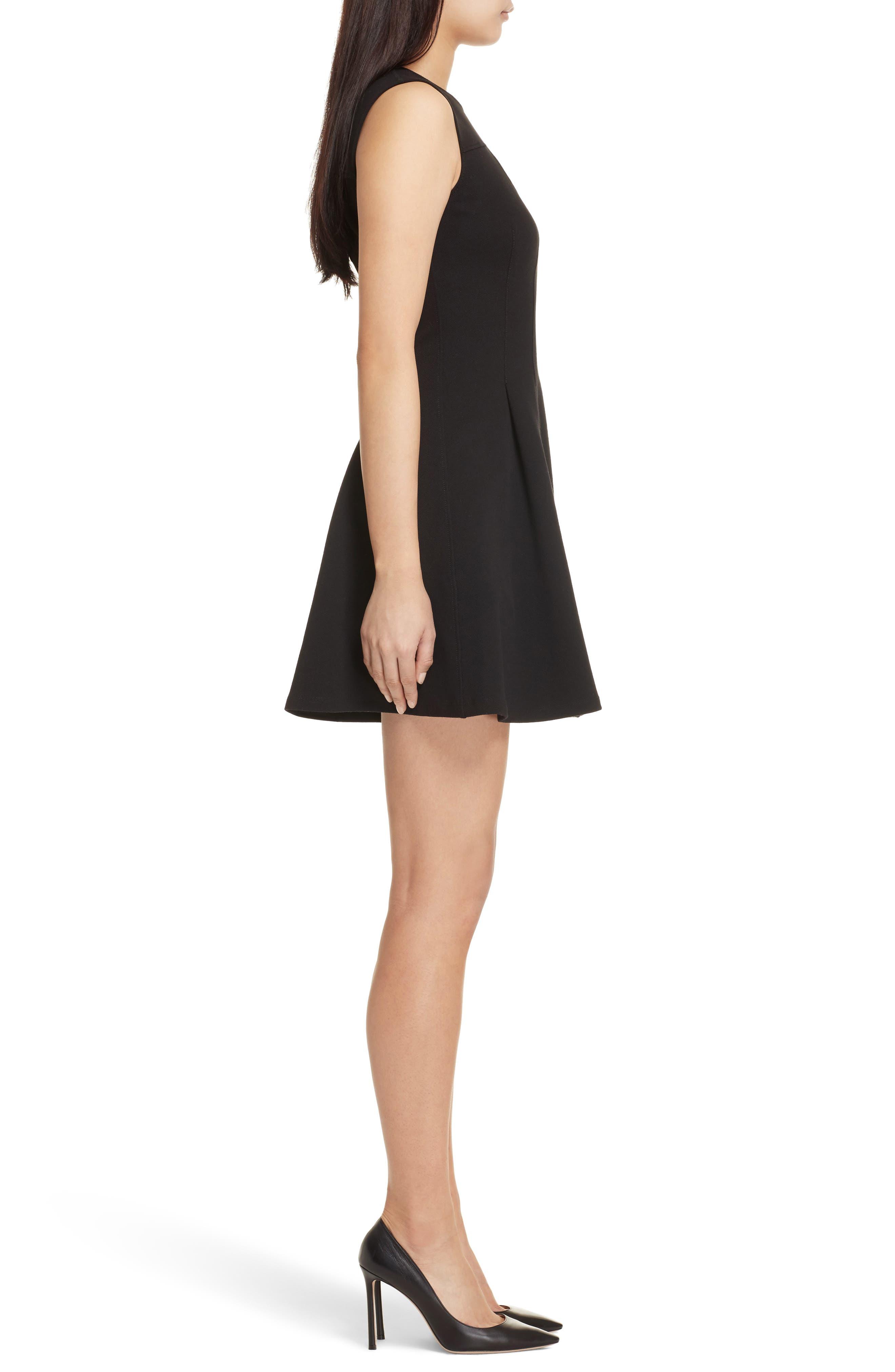 Piqué Fit & Flare Dress,                             Alternate thumbnail 3, color,                             Black