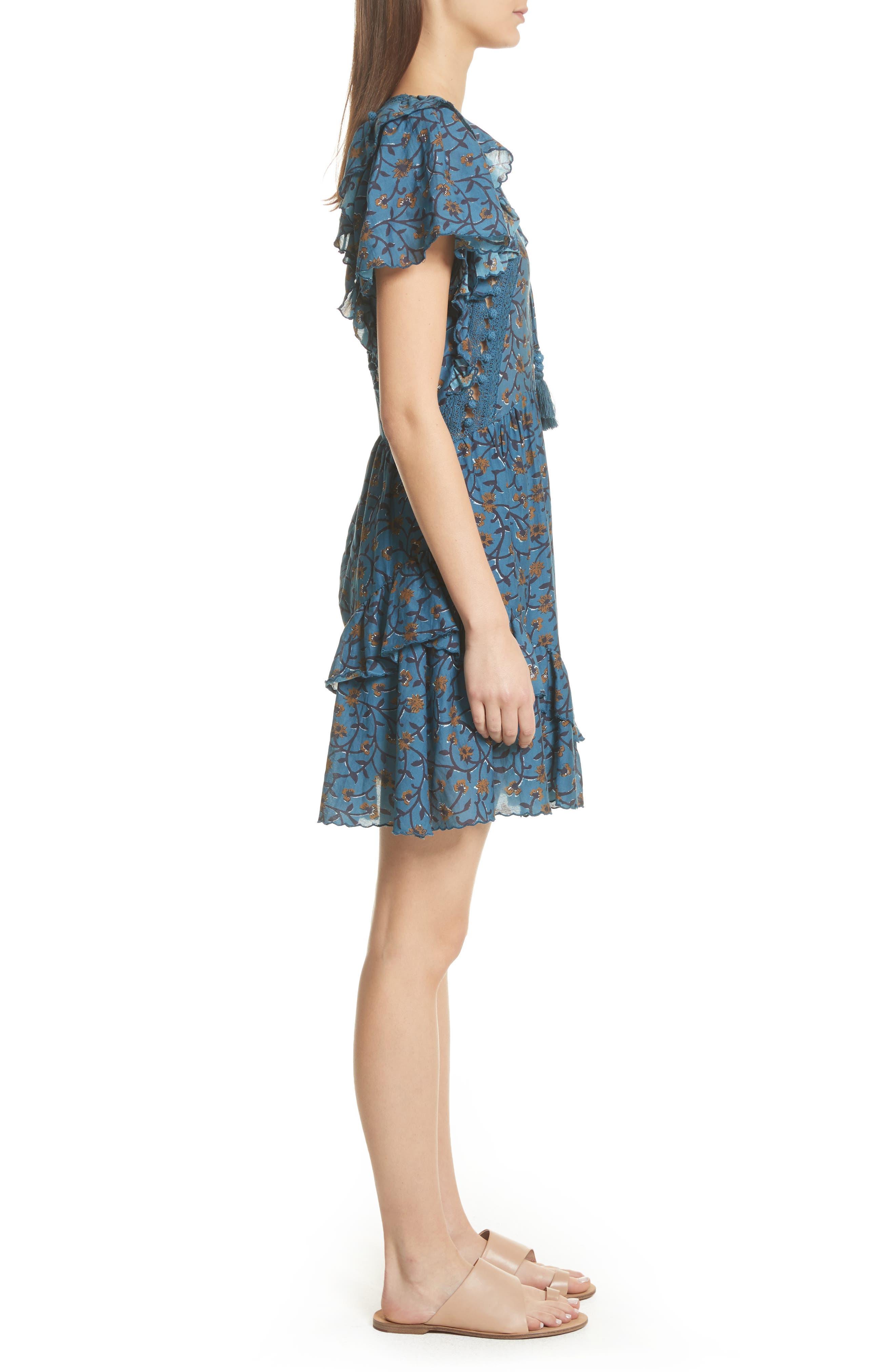 Kaylee Crochet Pompom Dress,                             Alternate thumbnail 3, color,                             Steel Blue