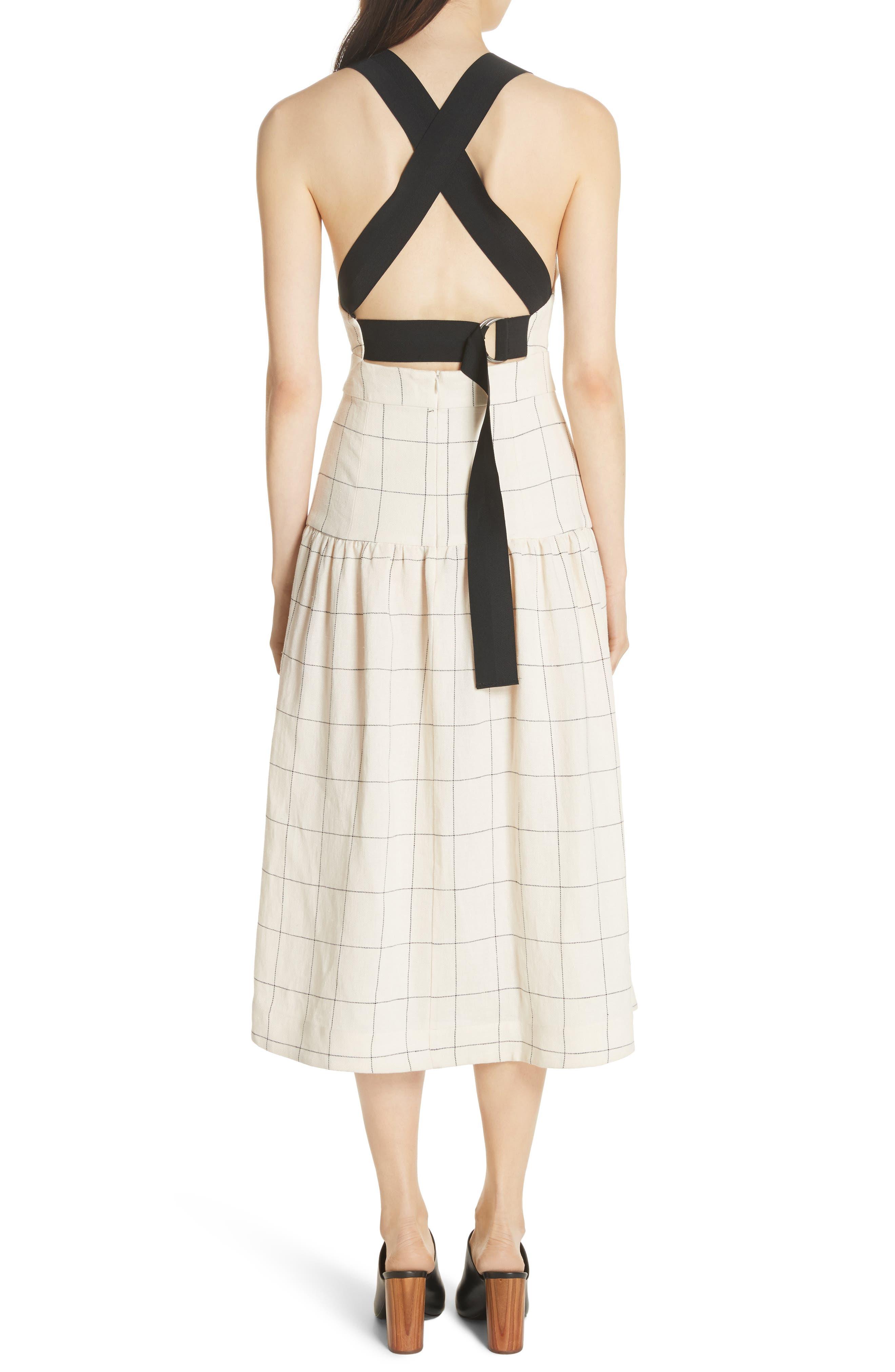 Jacques X-Factor Grid Linen Dress,                             Alternate thumbnail 2, color,                             Cream Grid