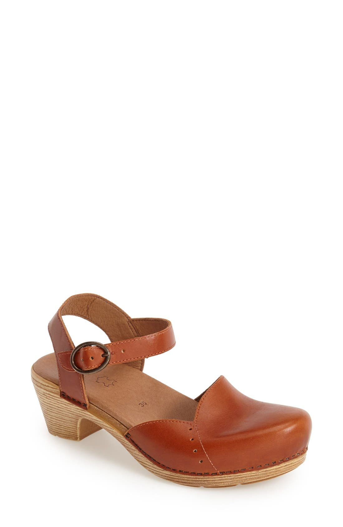 'Maisie' Ankle Strap Leather Pump,                             Main thumbnail 1, color,                             Toffee