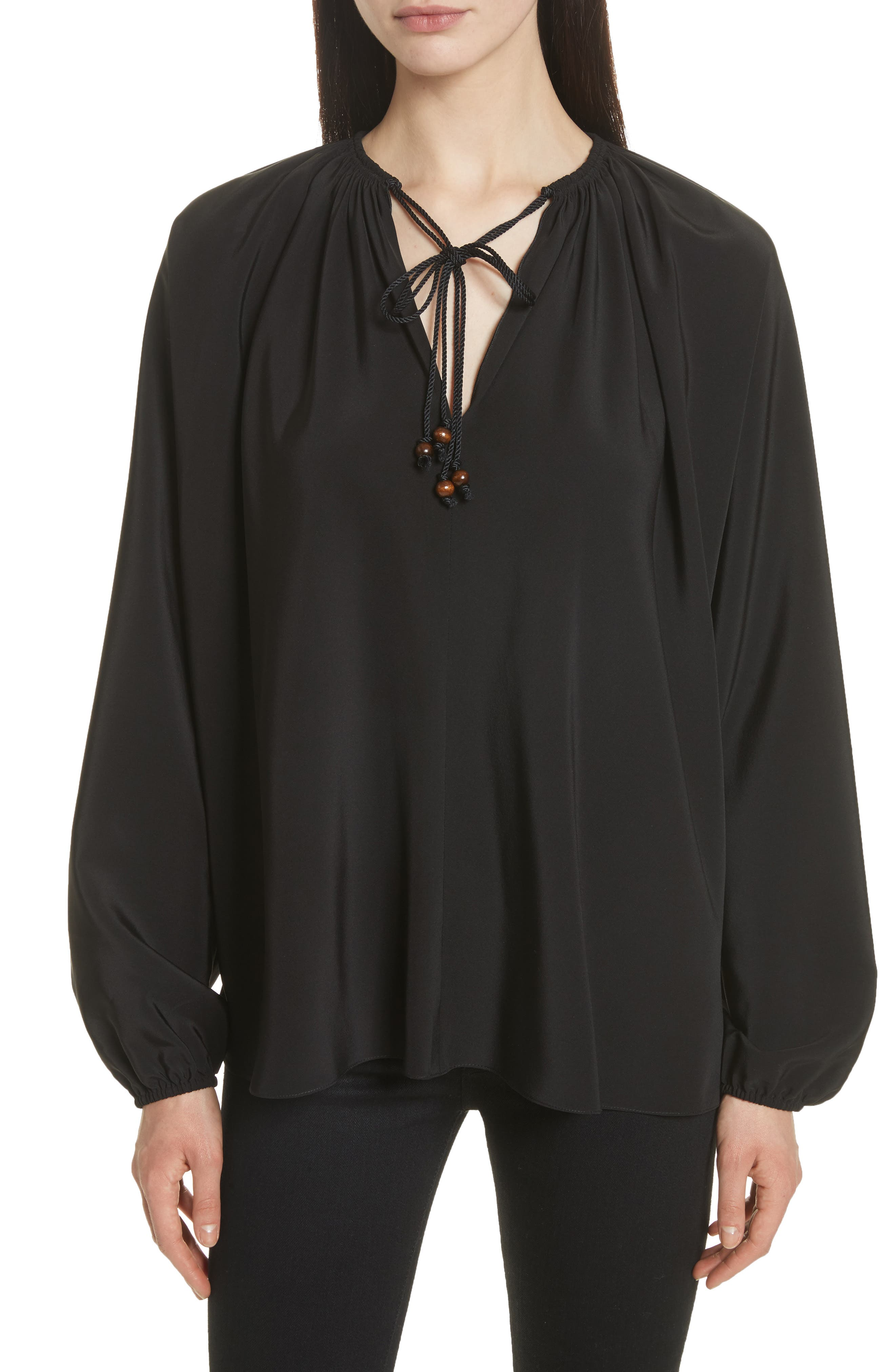 Chance Tie Neck Silk Top,                         Main,                         color, Black