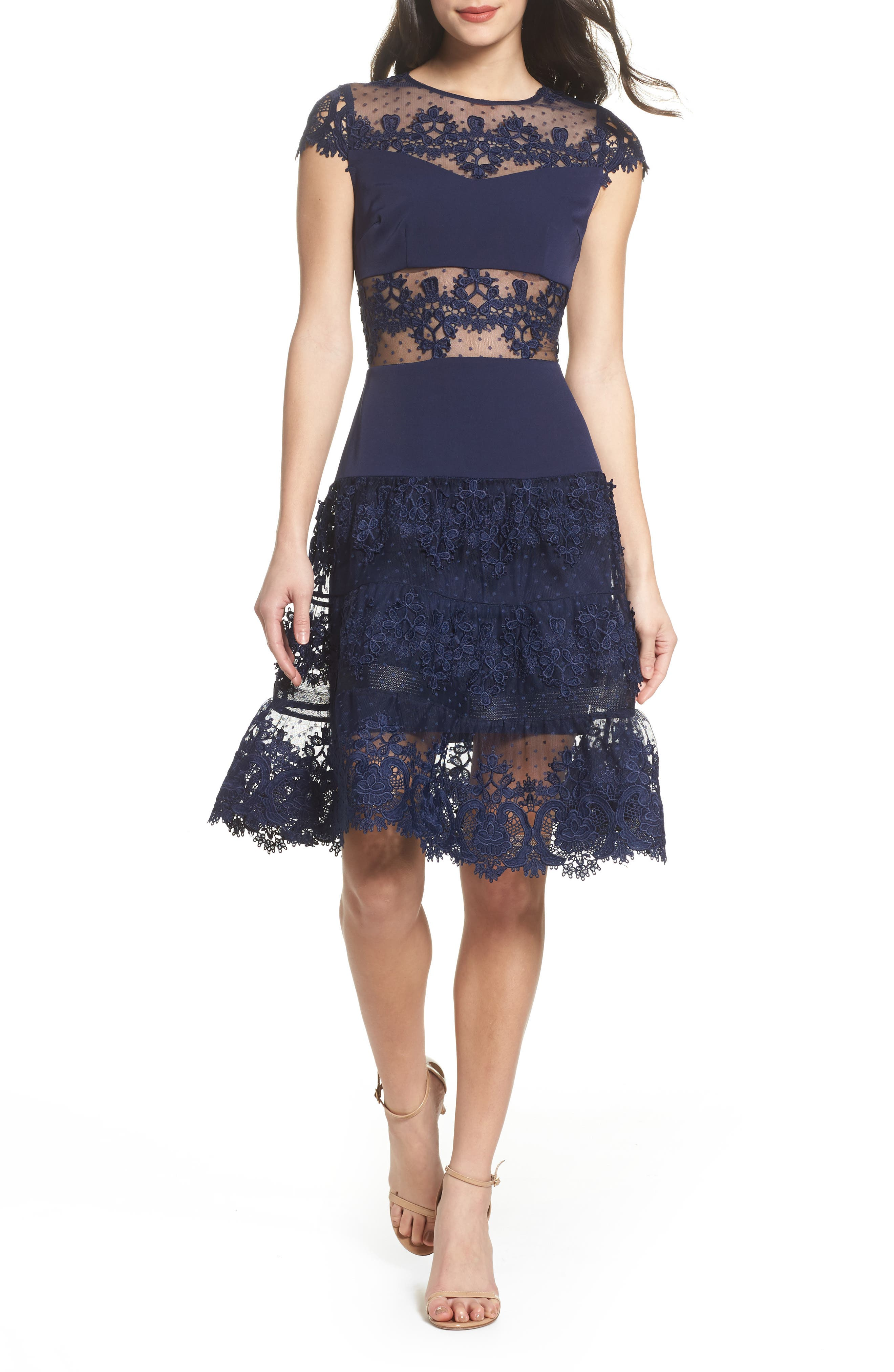 Flamenco Lace Inset Fit & Flare Dress,                             Main thumbnail 1, color,                             Navy