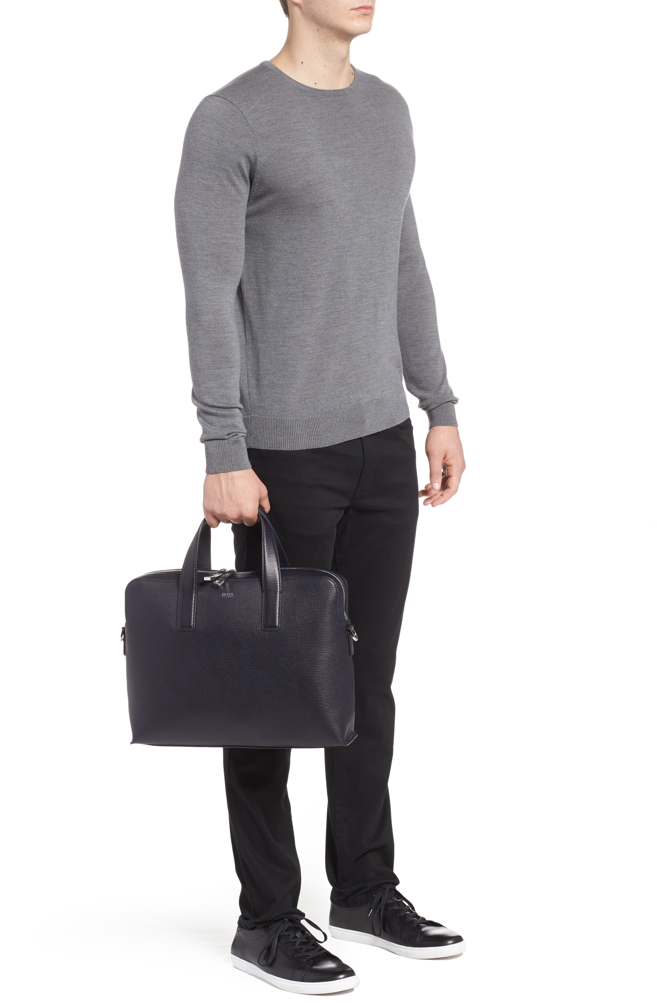 Timeless Leather Document Briefcase,                             Alternate thumbnail 2, color,                             Navy