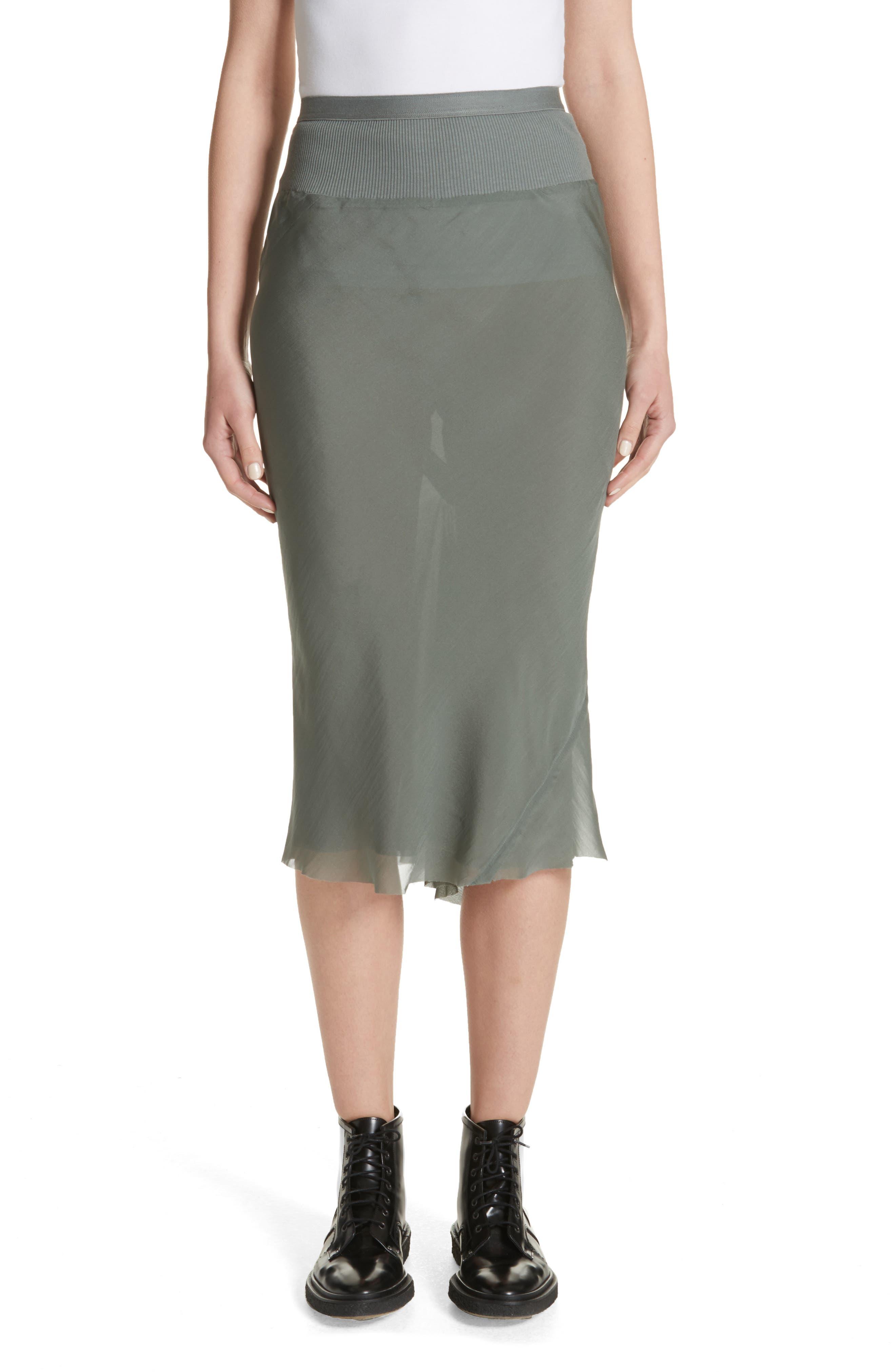 Rick Owens Silk Chiffon Midi Skirt