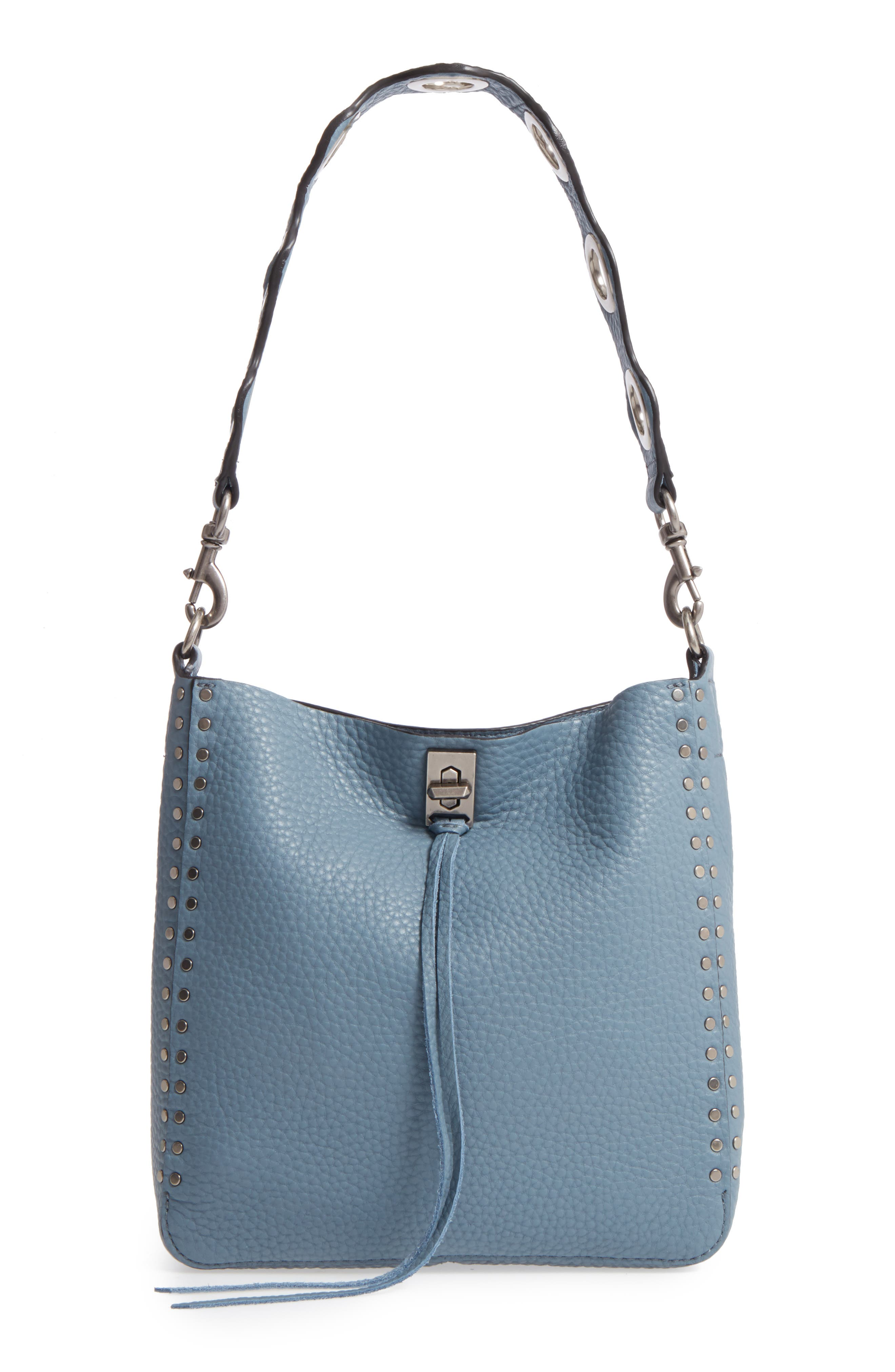 Small Darren Deerskin Leather Feed Bag,                         Main,                         color, Dusty Blue