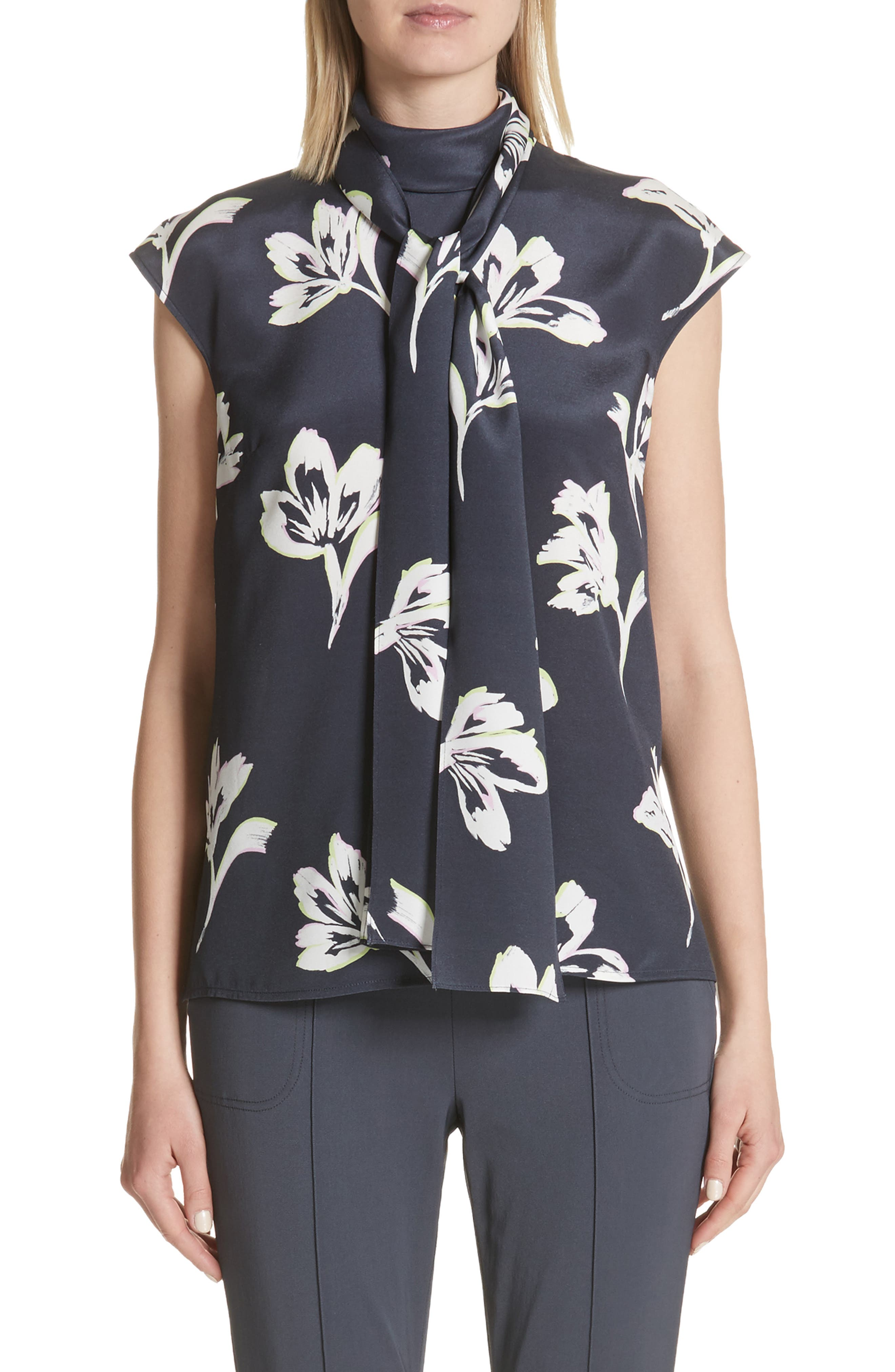 Falling Flower Print Stretch Silk Top,                             Main thumbnail 1, color,                             Anthracite Multi