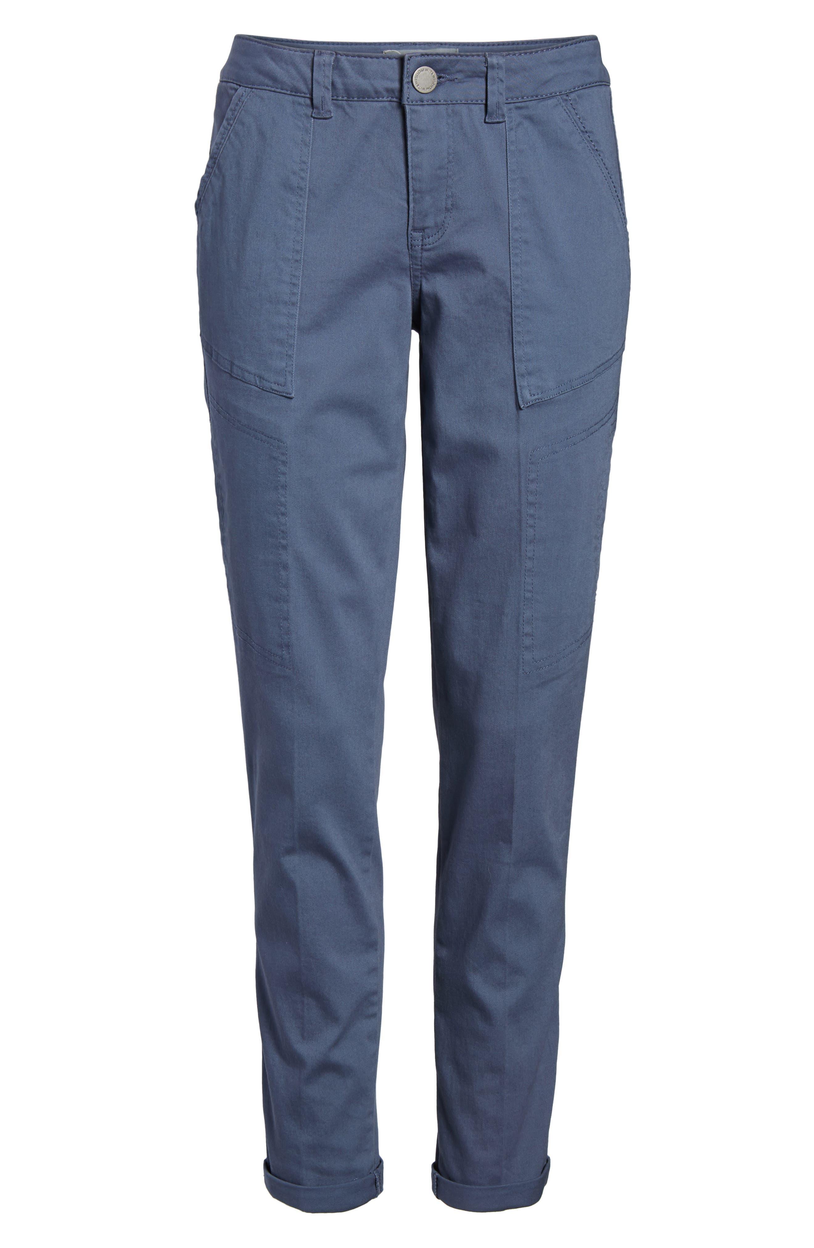 Twill Cargo Pants,                             Alternate thumbnail 7, color,                             Slate Blue