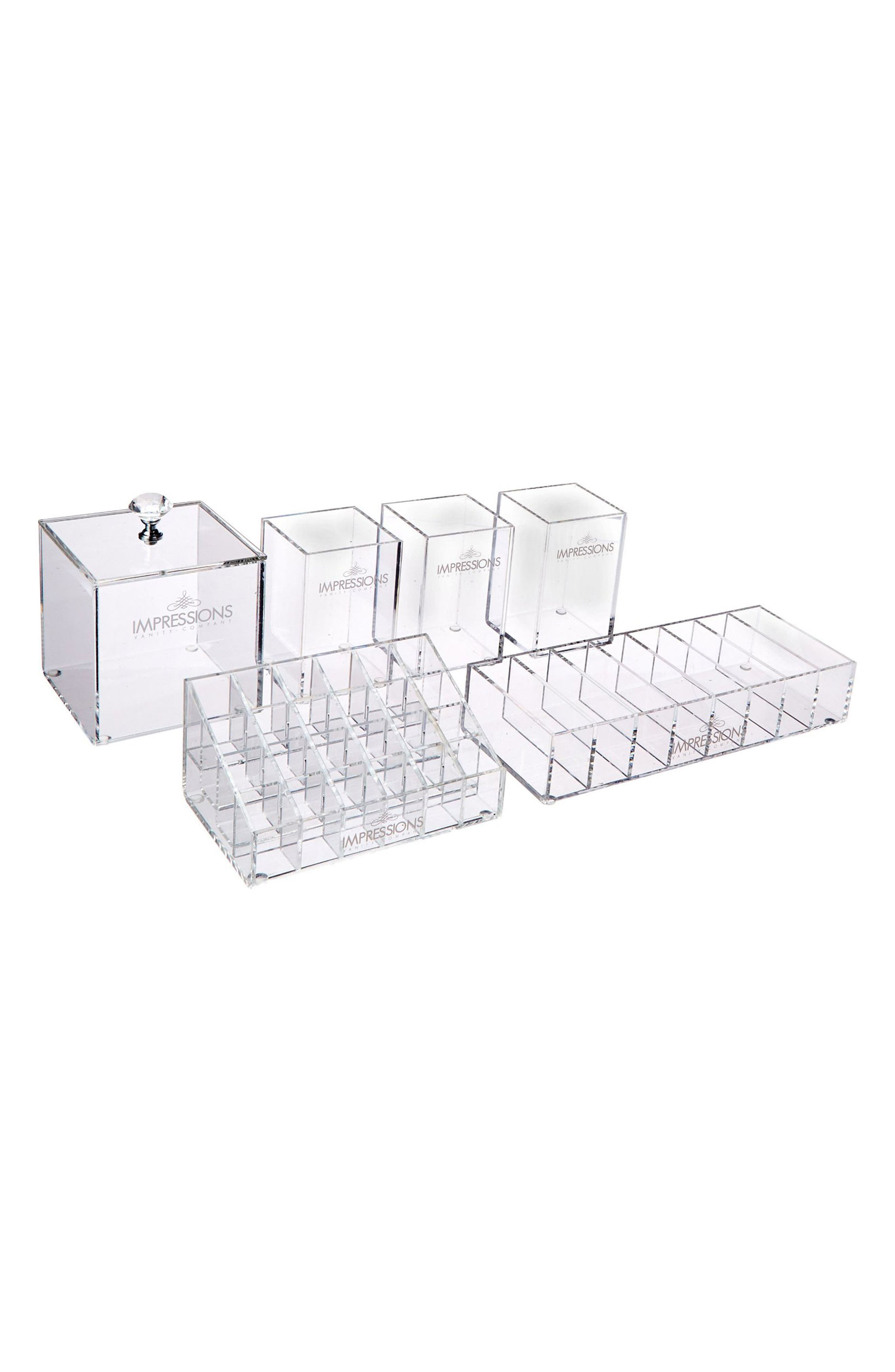 Diamond Collection 6-Piece Acrylic Organizer Set,                             Alternate thumbnail 2, color,                             Clear