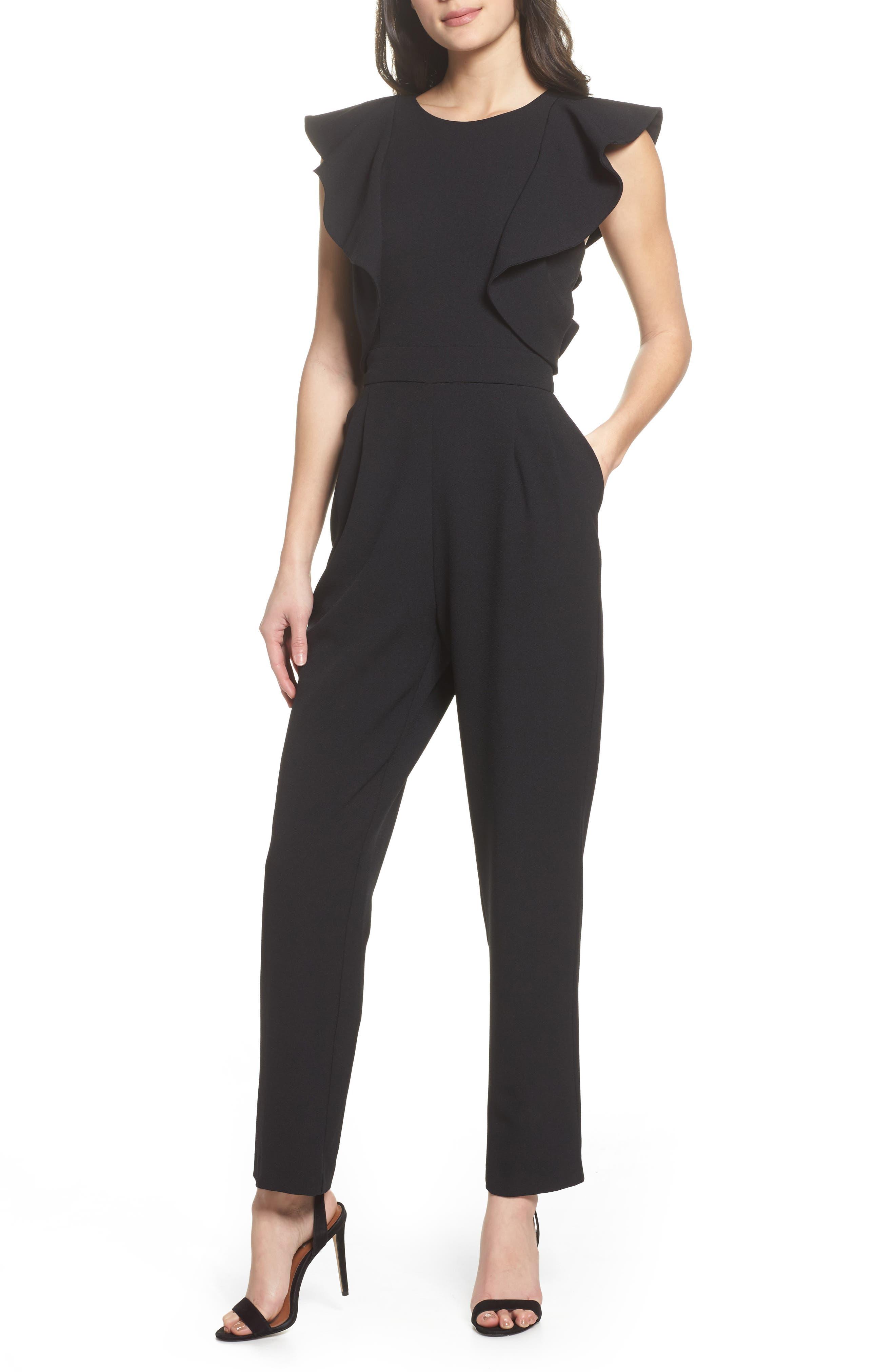 Ruffle Jumpsuit,                         Main,                         color, Black