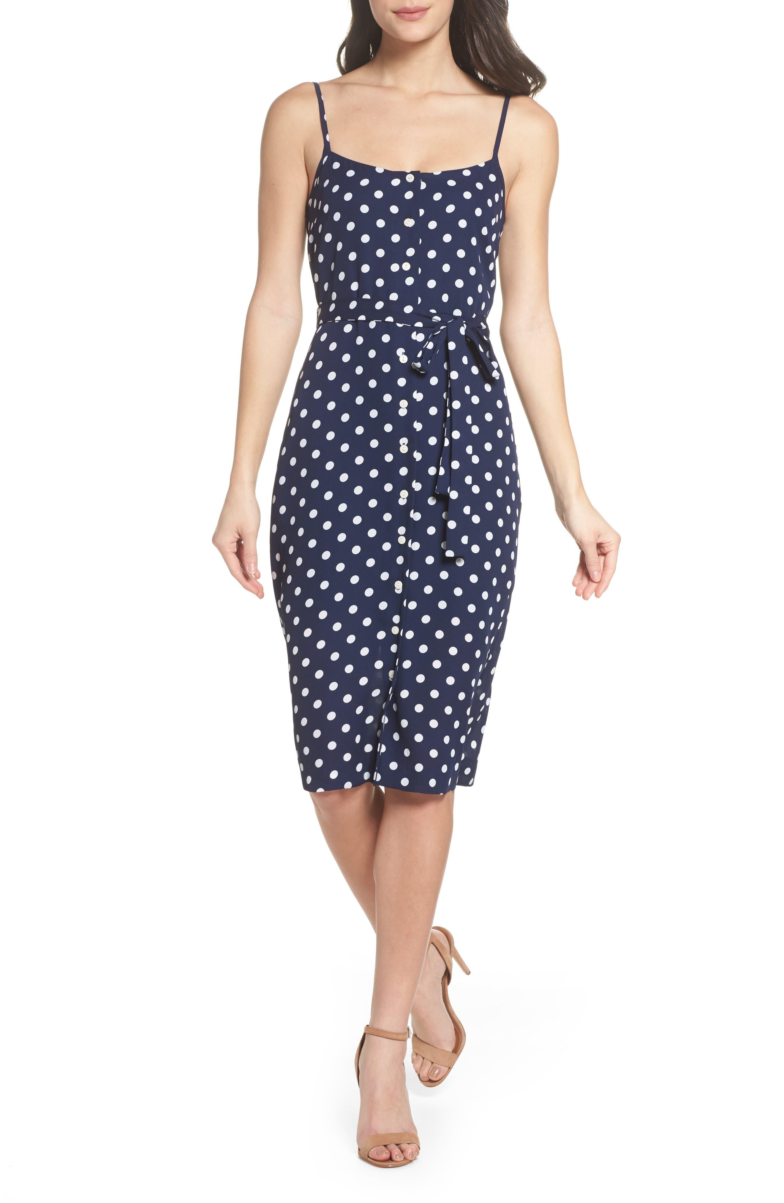 Flower Frolicking Midi Dress,                             Main thumbnail 1, color,                             Navy Polka Dot