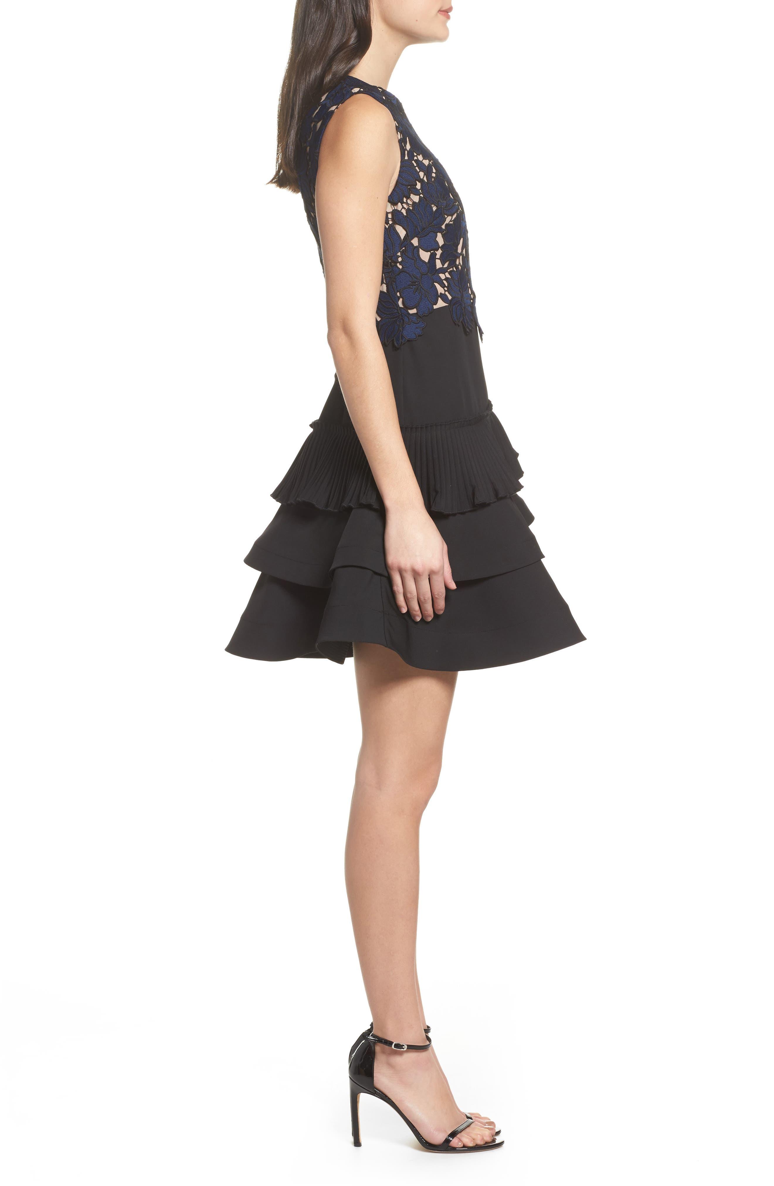 Alexa Lace & Ruffle Tier Dress,                             Alternate thumbnail 4, color,                             Black/ Navy