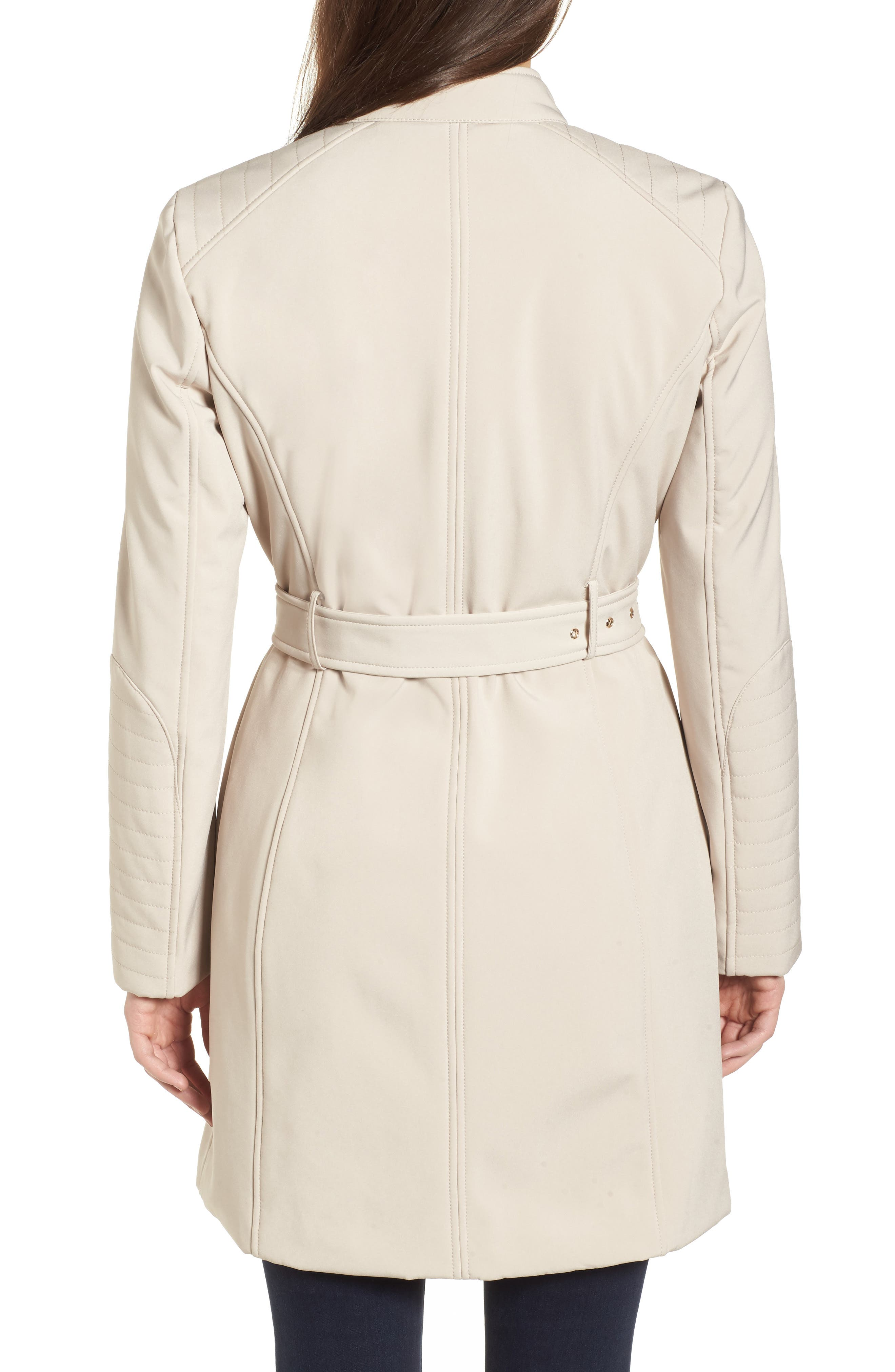Asymmetrical Belted Trench Coat,                             Alternate thumbnail 2, color,                             Bone