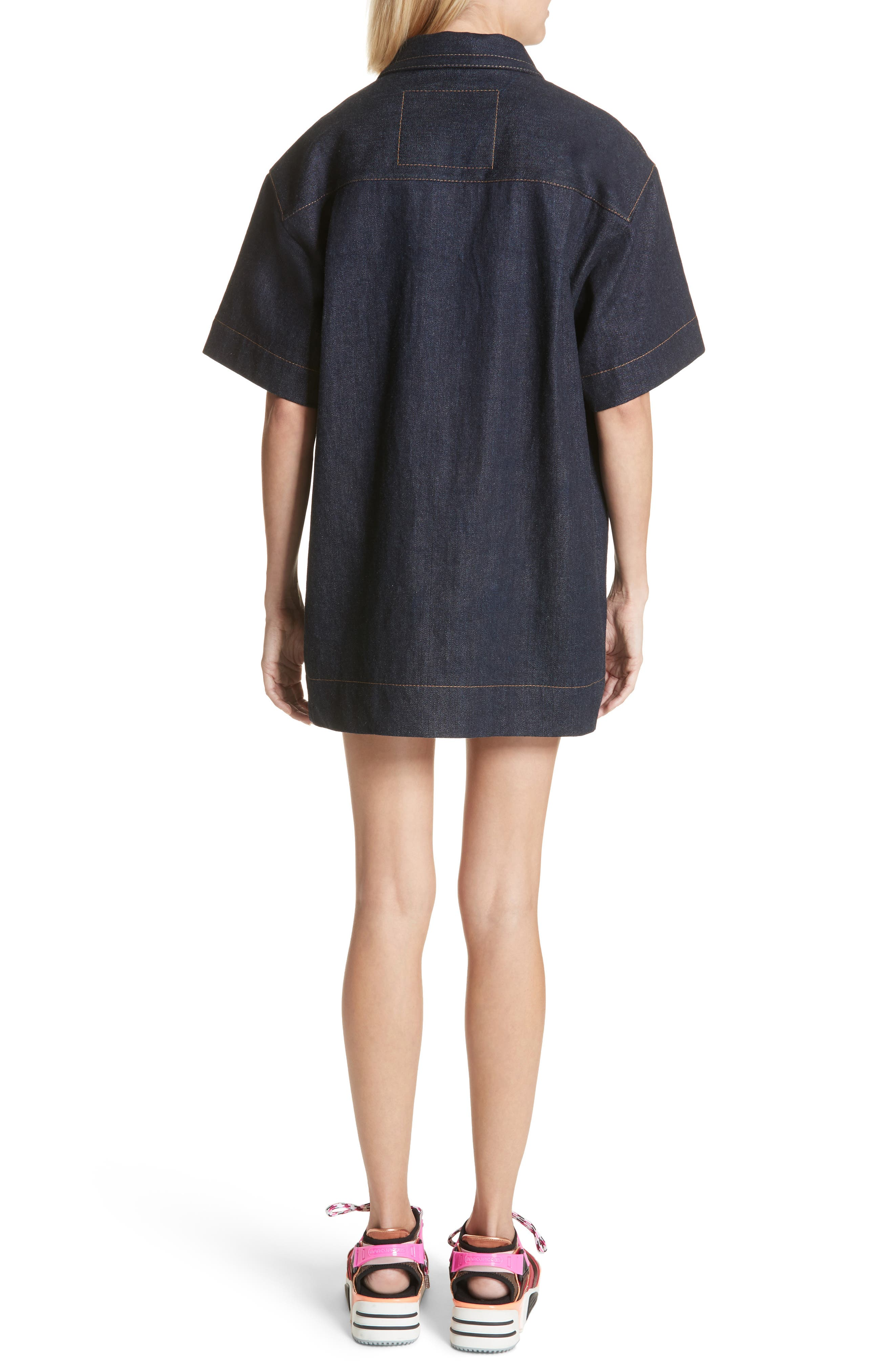 Denim Tunic Dress,                             Alternate thumbnail 2, color,                             Indigo
