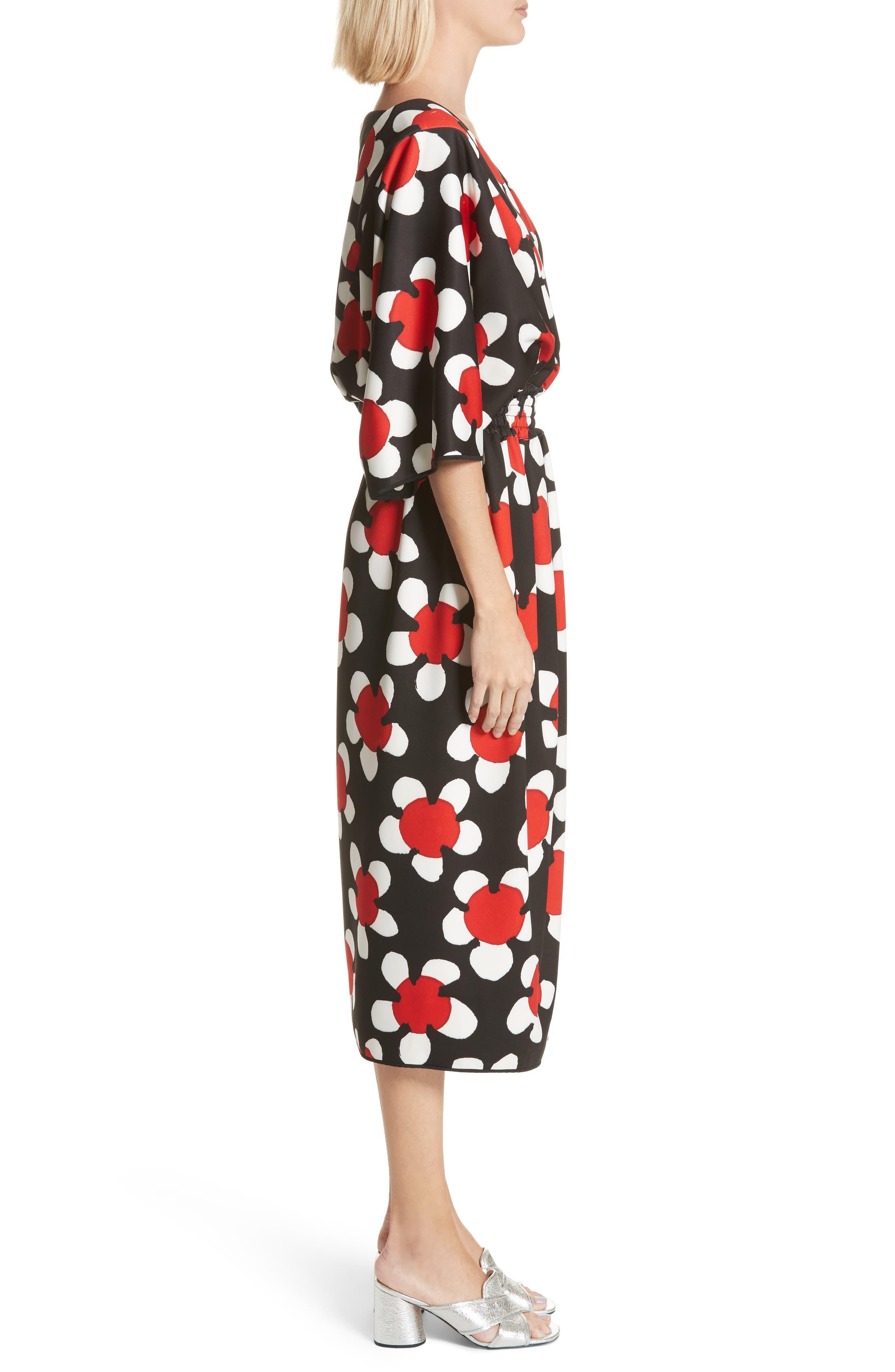 Surplice Neck Floral Print Dress,                             Alternate thumbnail 3, color,                             Red Multi