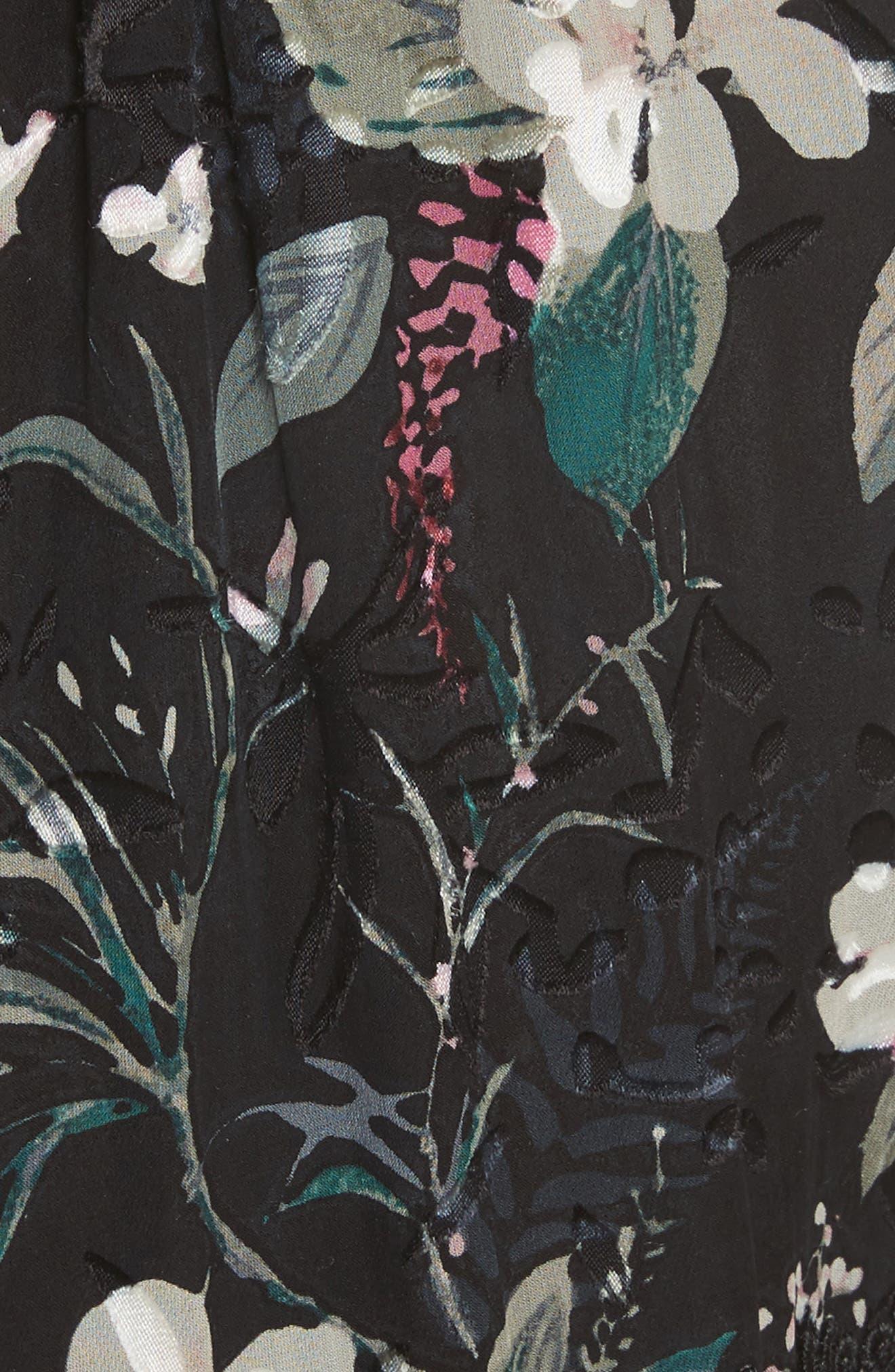 botanical burnout chiffon top,                             Alternate thumbnail 5, color,                             Black