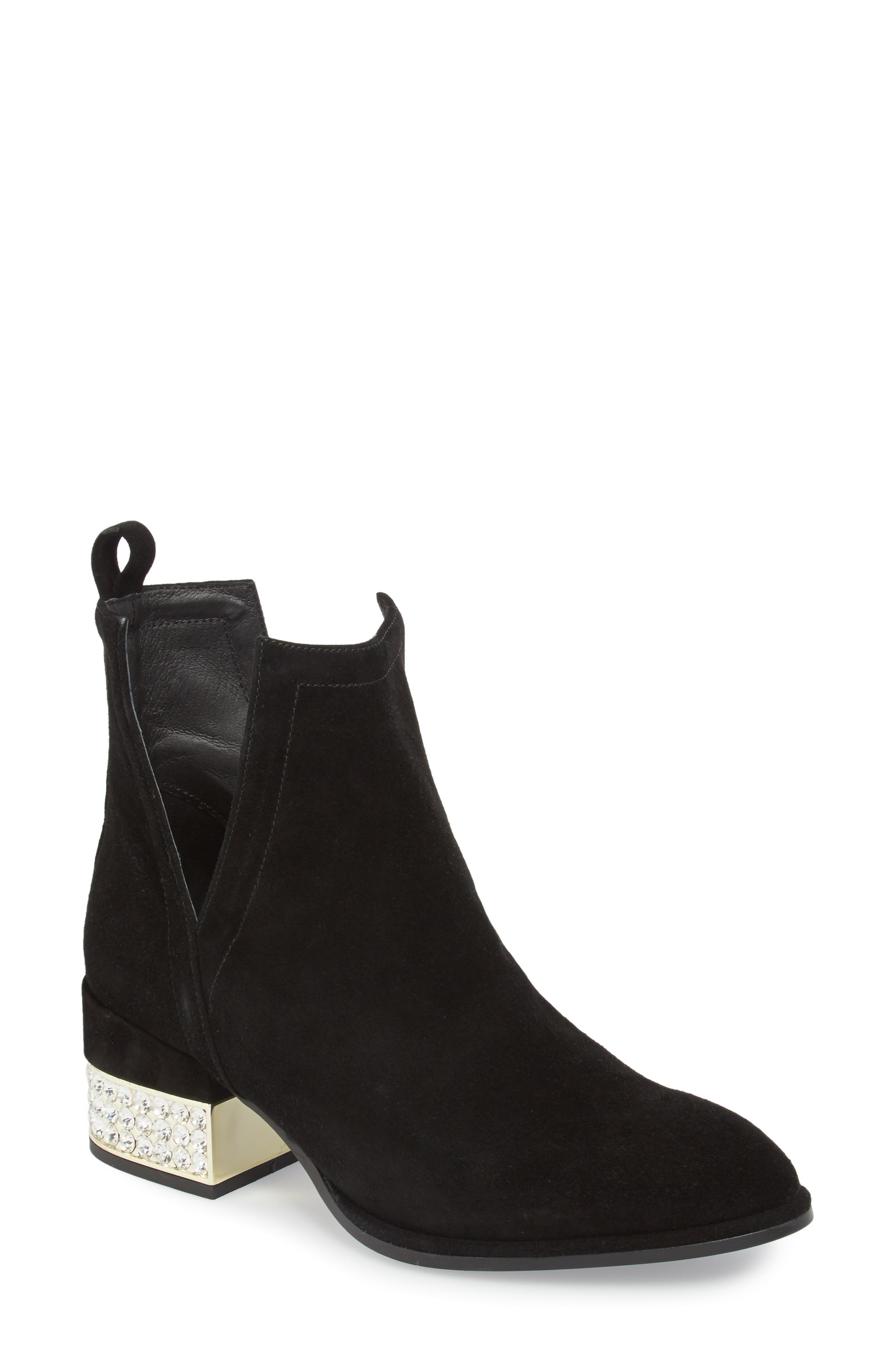 Crystal Embellished Musk Bootie,                             Main thumbnail 1, color,                             Black Suede Gold