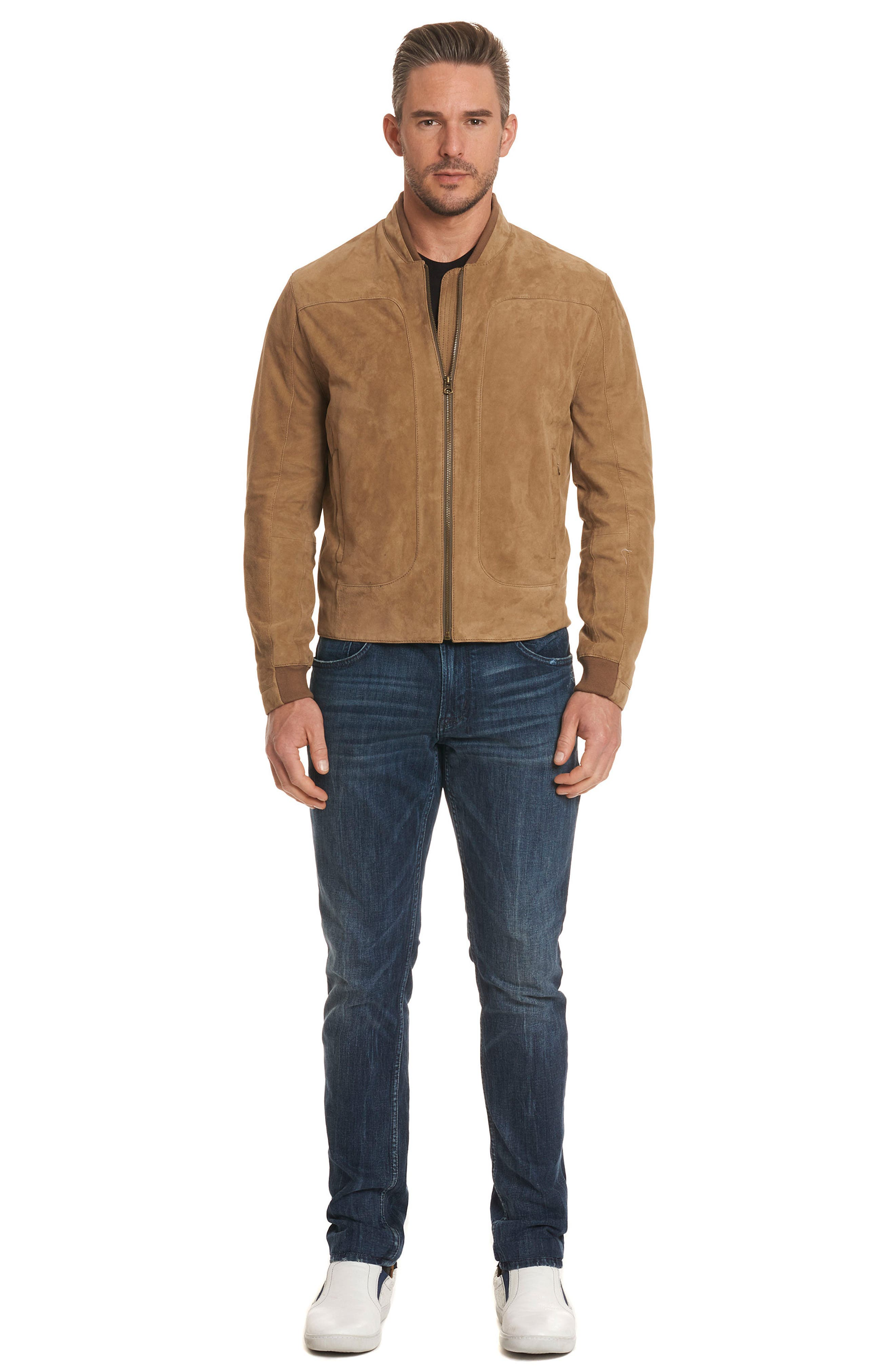 Ramos Suede Bomber Jacket,                             Alternate thumbnail 4, color,                             Tan