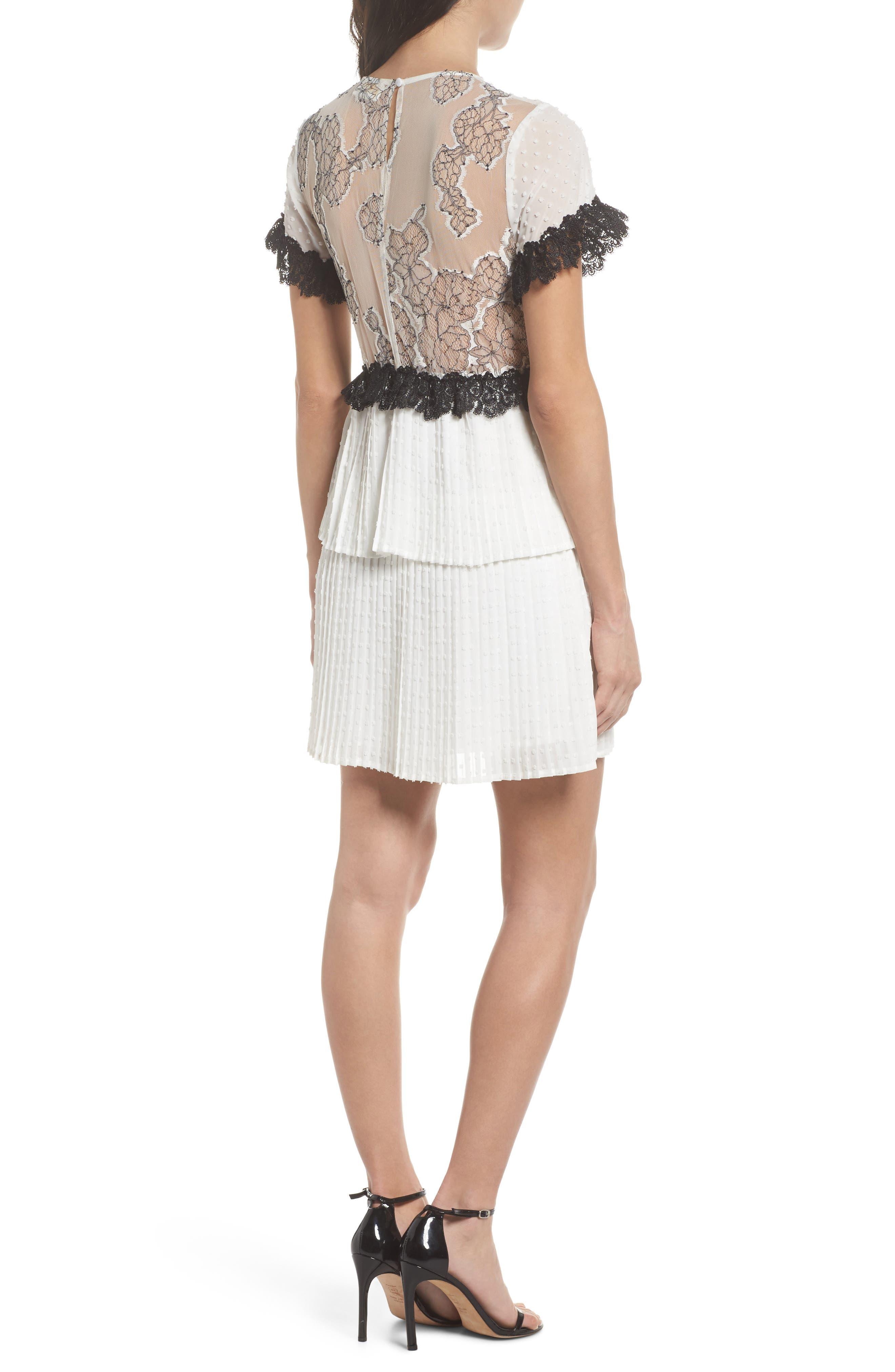 Melita Tiered Lace Dress,                             Alternate thumbnail 2, color,                             White W/ Black Lace