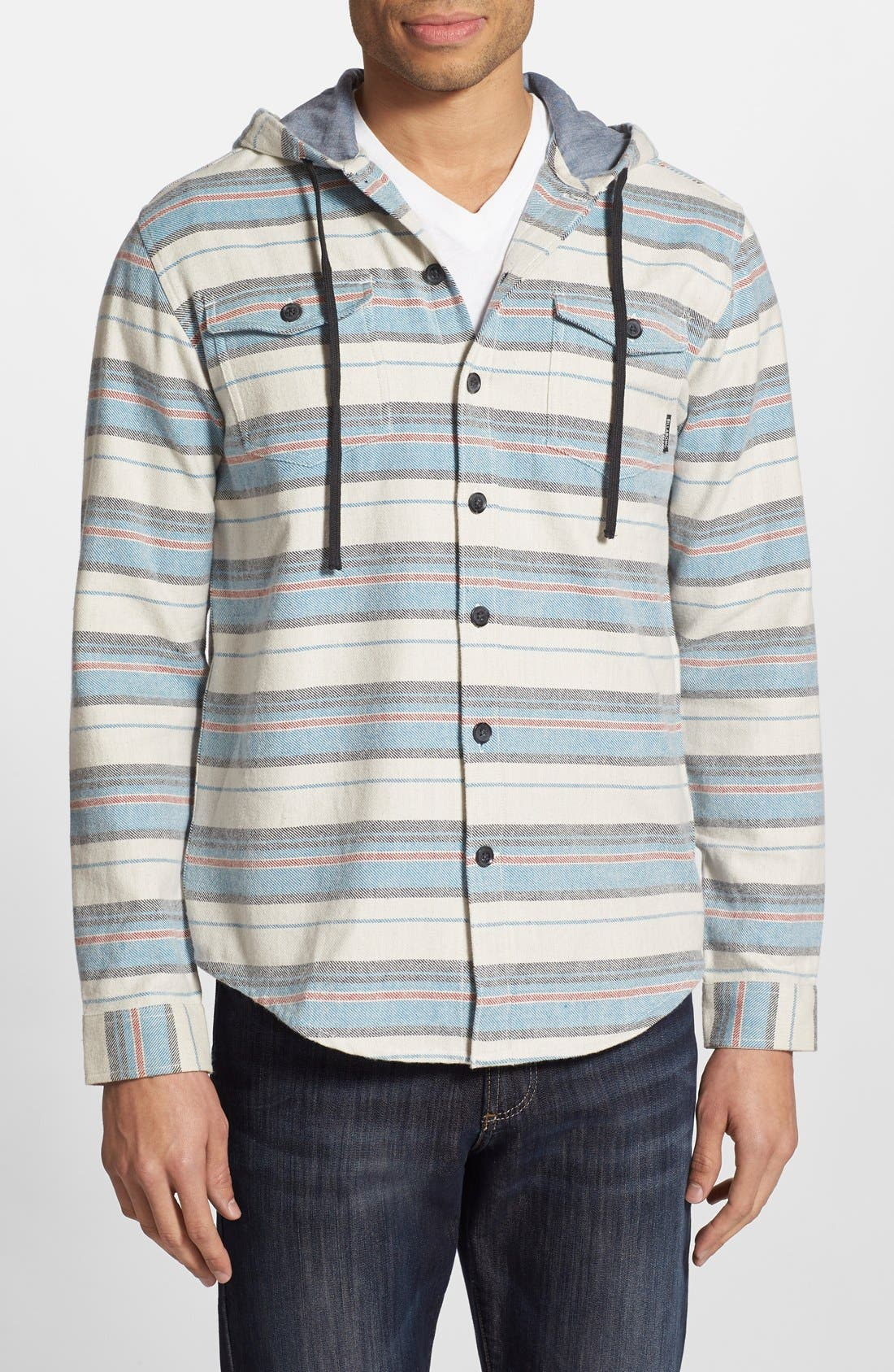 'Flatlands' Stripe Hooded Flannel Shirt,                         Main,                         color, Stone Heather