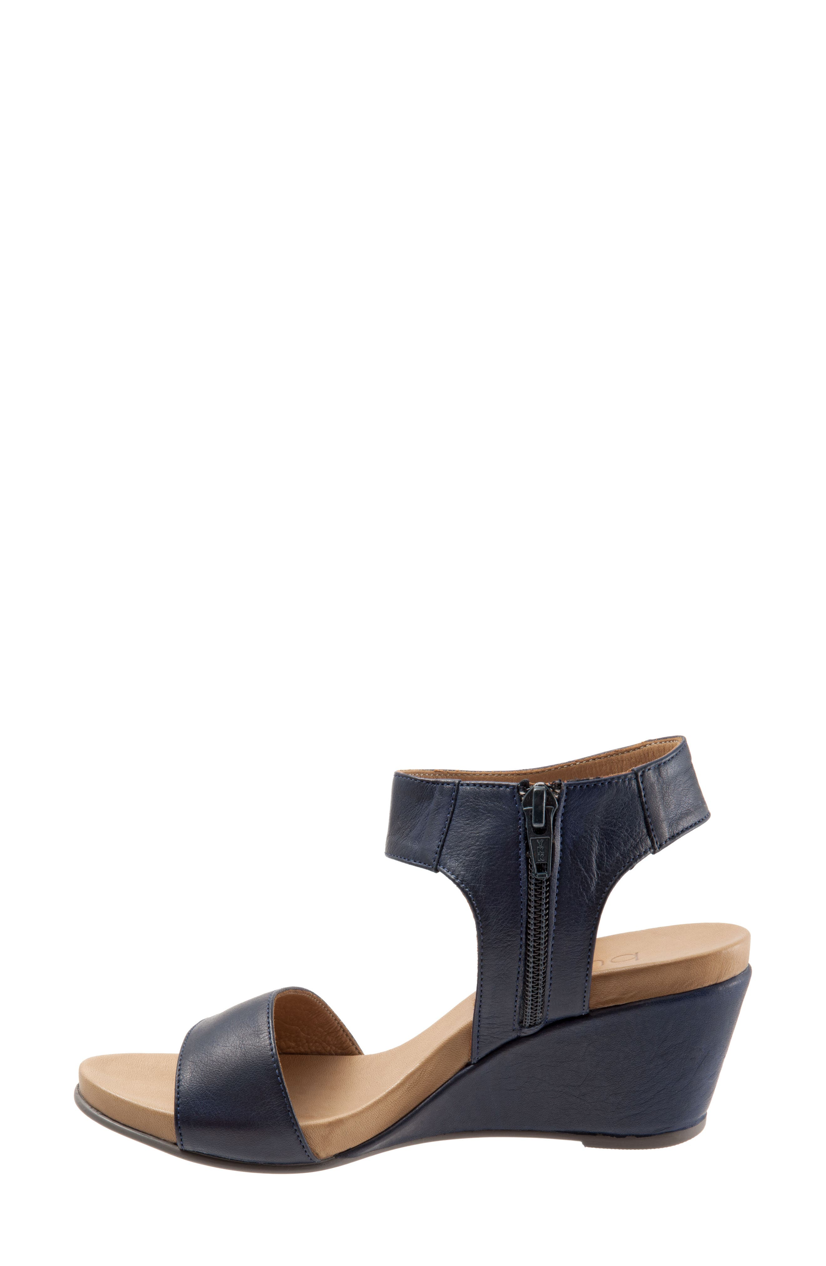 Ida Wedge Sandal,                             Alternate thumbnail 4, color,                             Black Leather