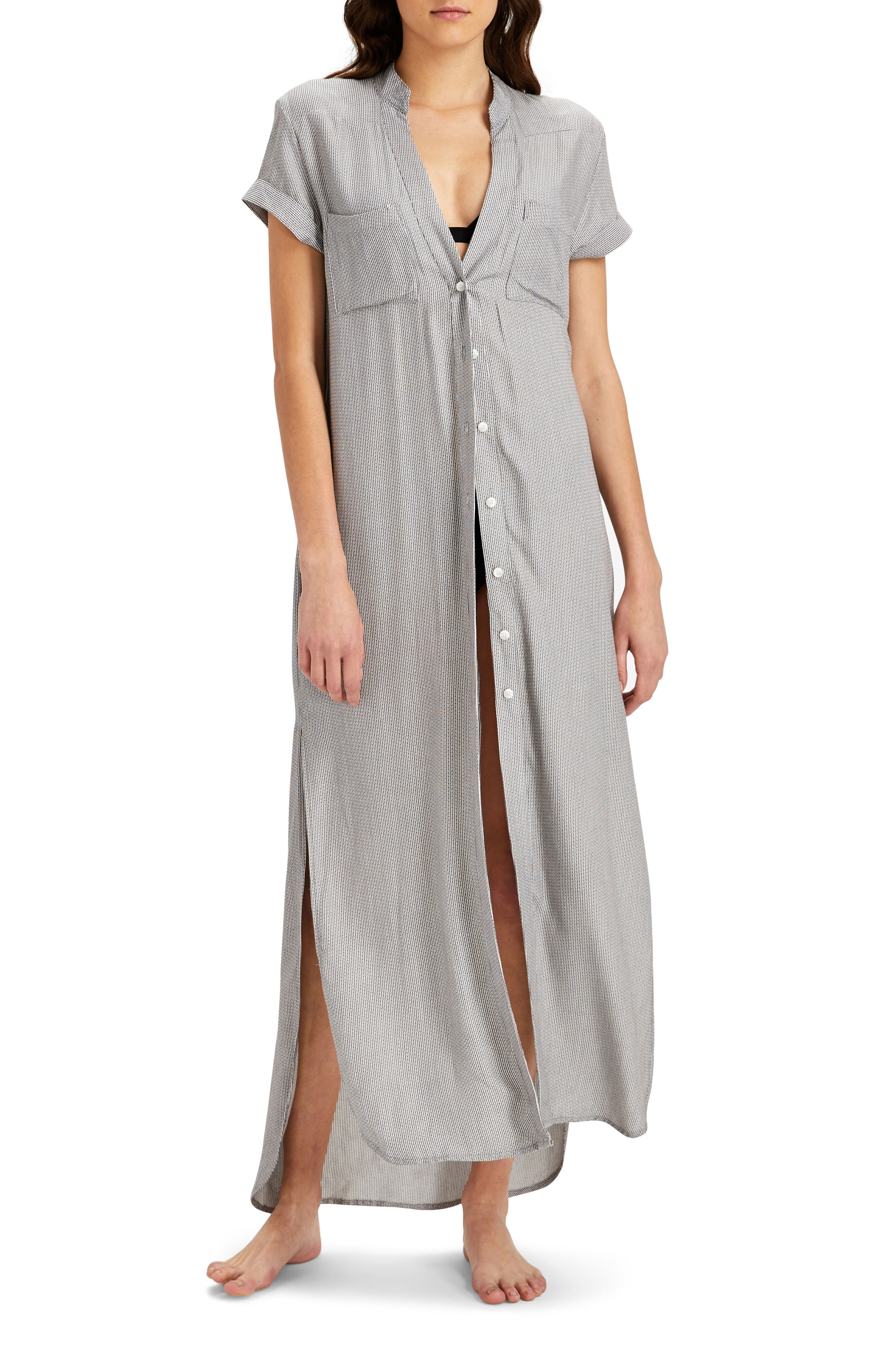 Kim Button Down Cover-Up Dress,                             Main thumbnail 1, color,                             Charcoal/ White