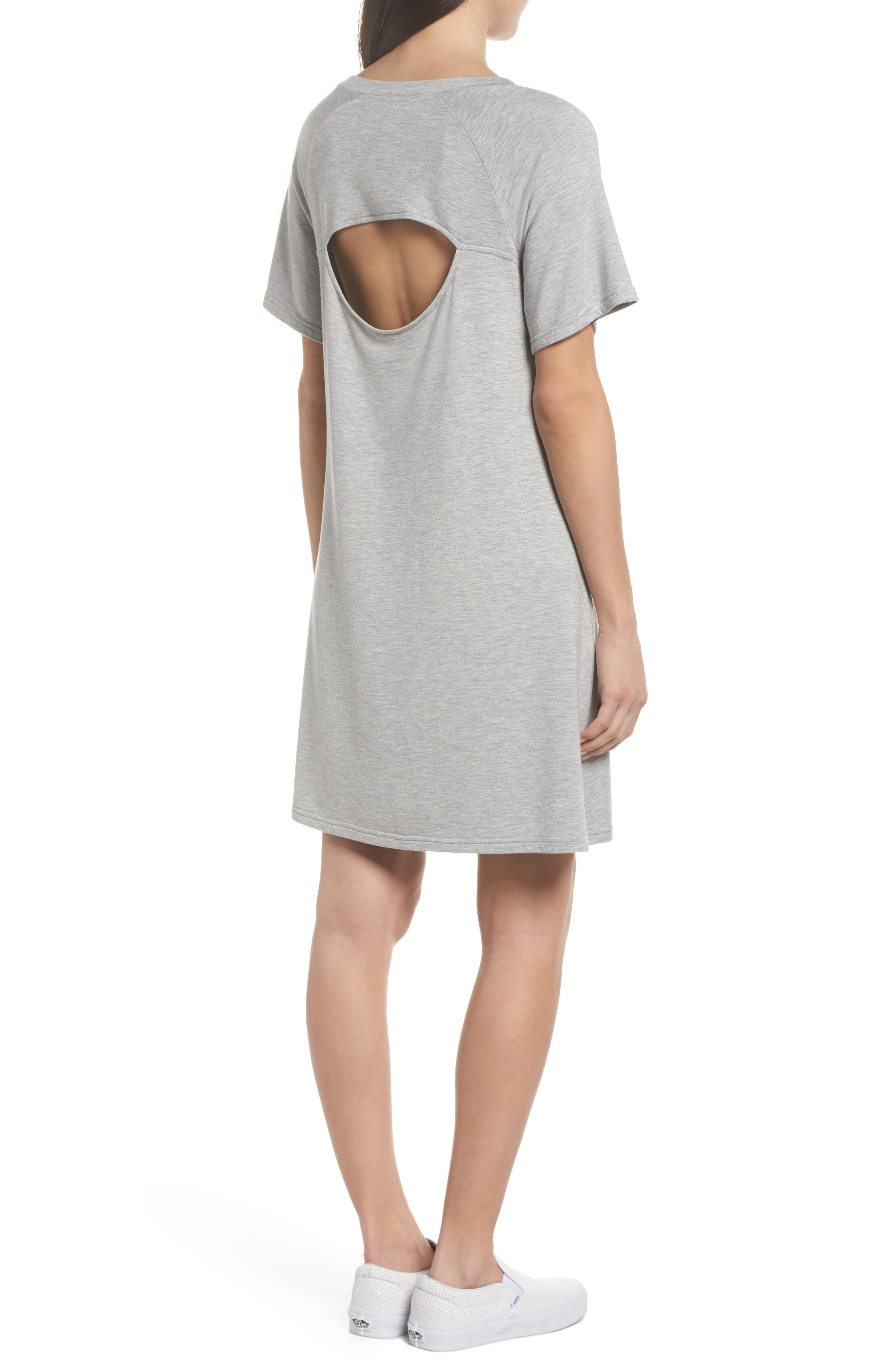 Greer Knit Shift Dress,                             Alternate thumbnail 2, color,                             Light Heather Grey