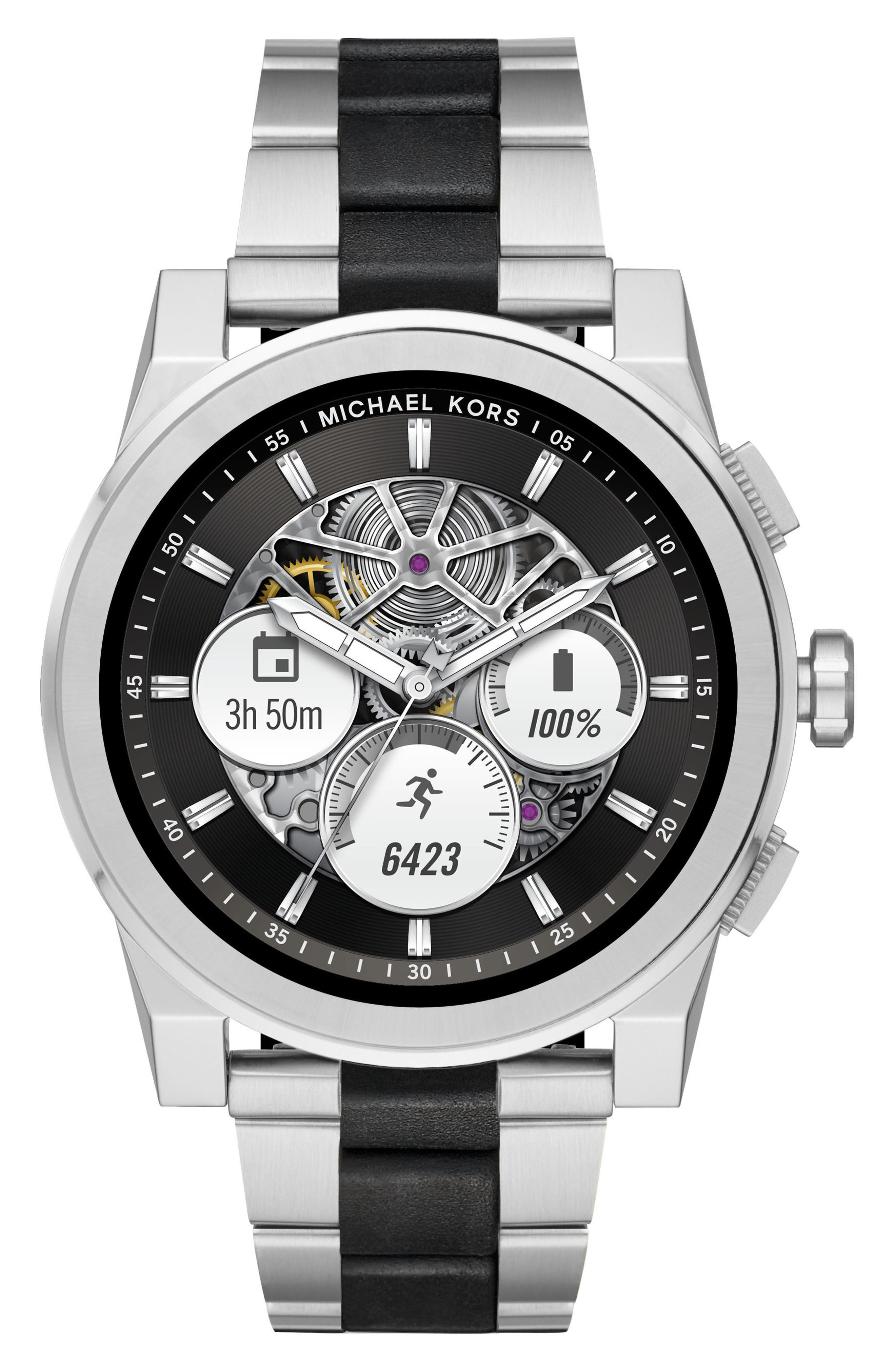 Grayson Bracelet Touchscreen Smart Watch, 47mm,                             Main thumbnail 1, color,                             Silver/ Black