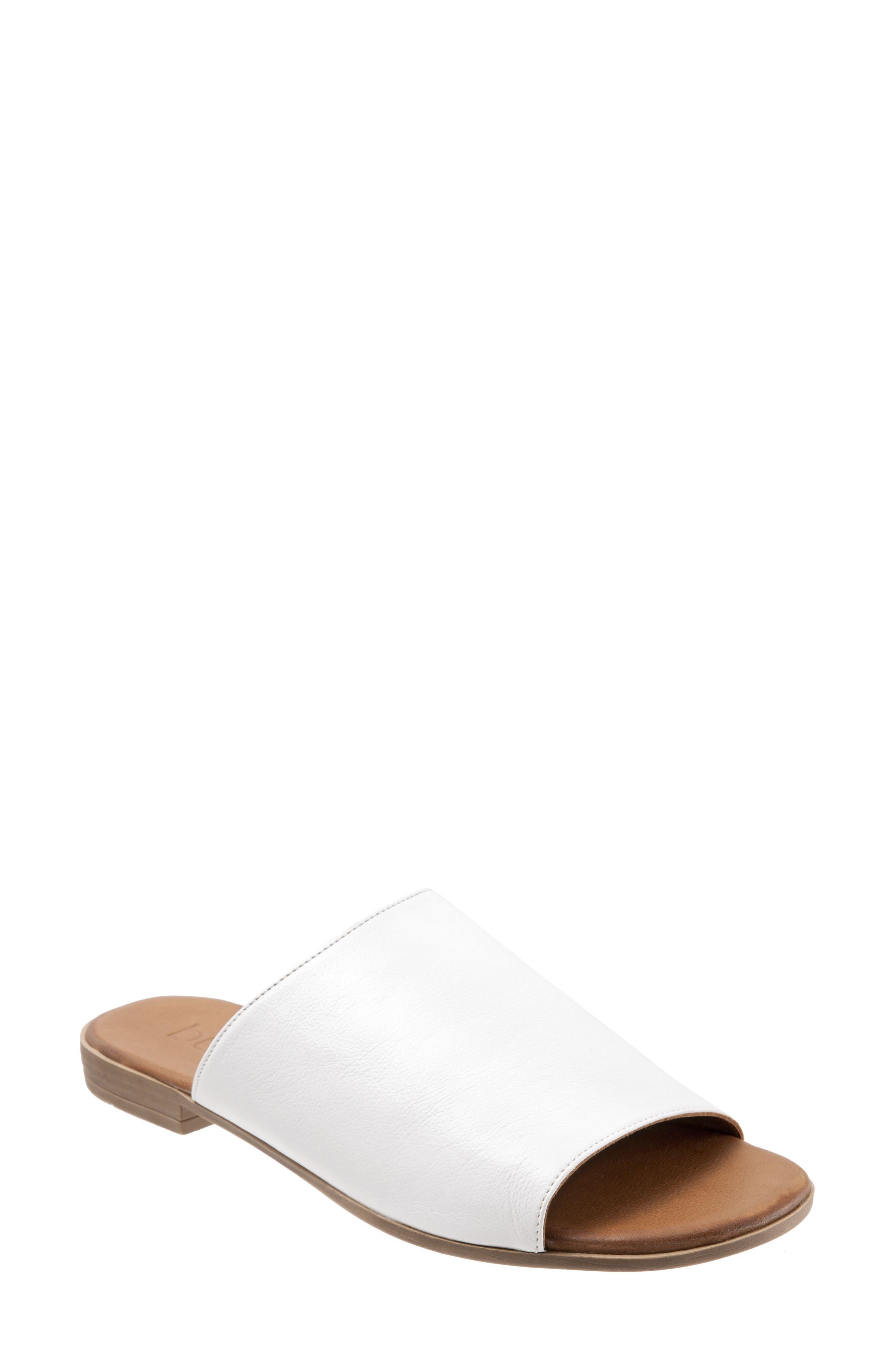 Jory Slide Sandal,                         Main,                         color, White Leather