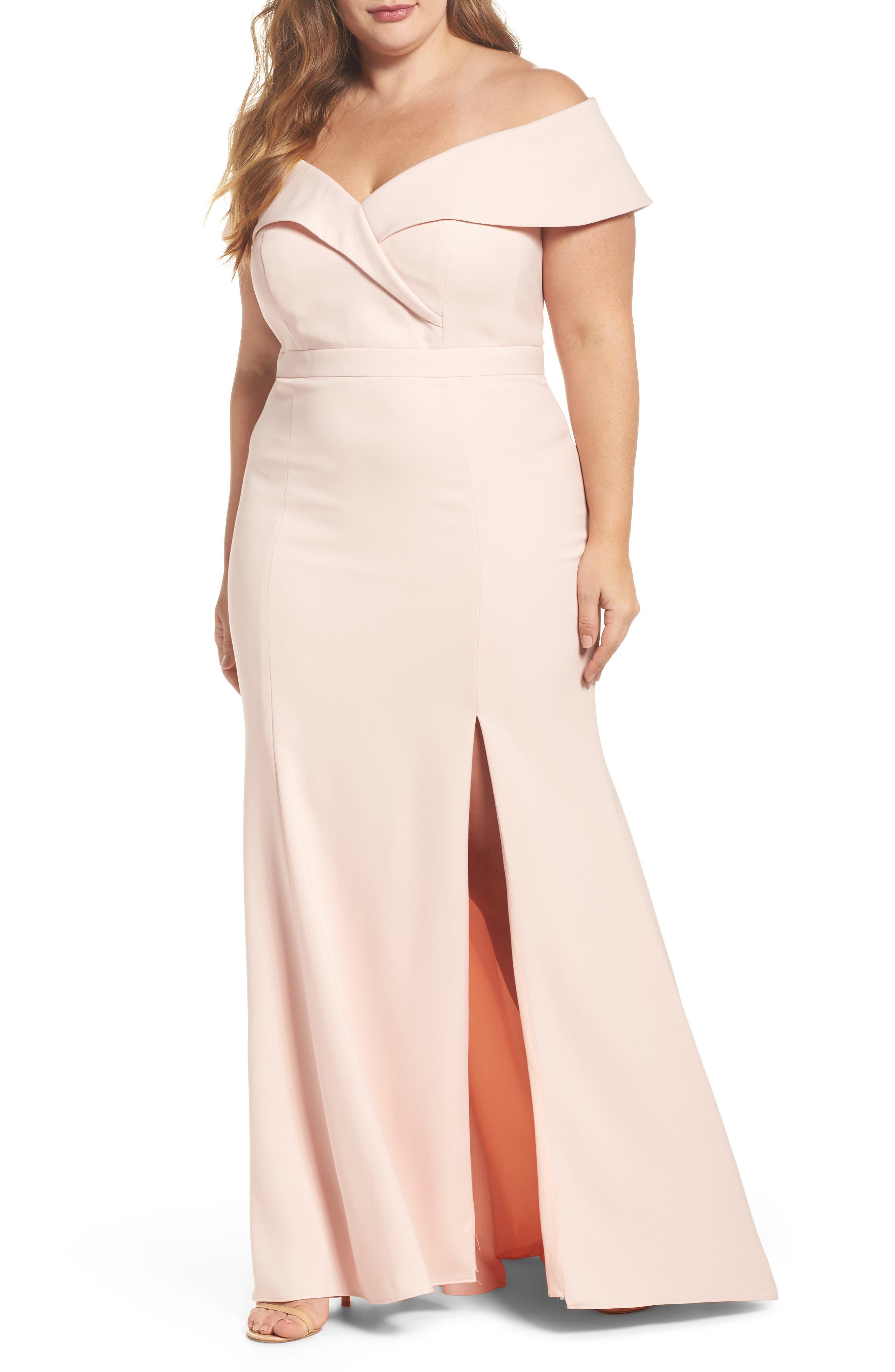 Xscape Off the Shoulder Front Slit Crepe Dress (Plus Size)