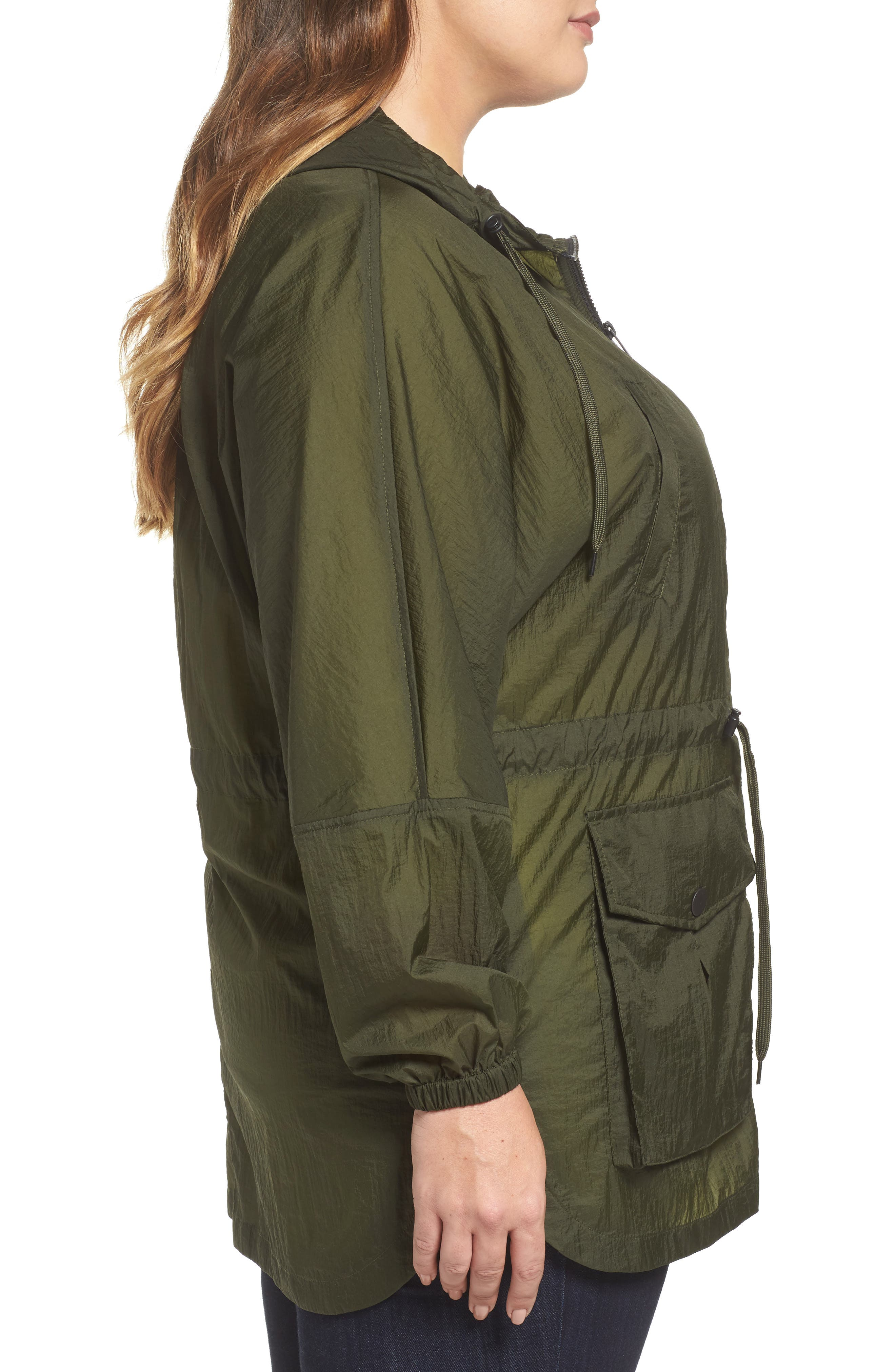 Hooded Windbreaker,                             Alternate thumbnail 3, color,                             Army Green