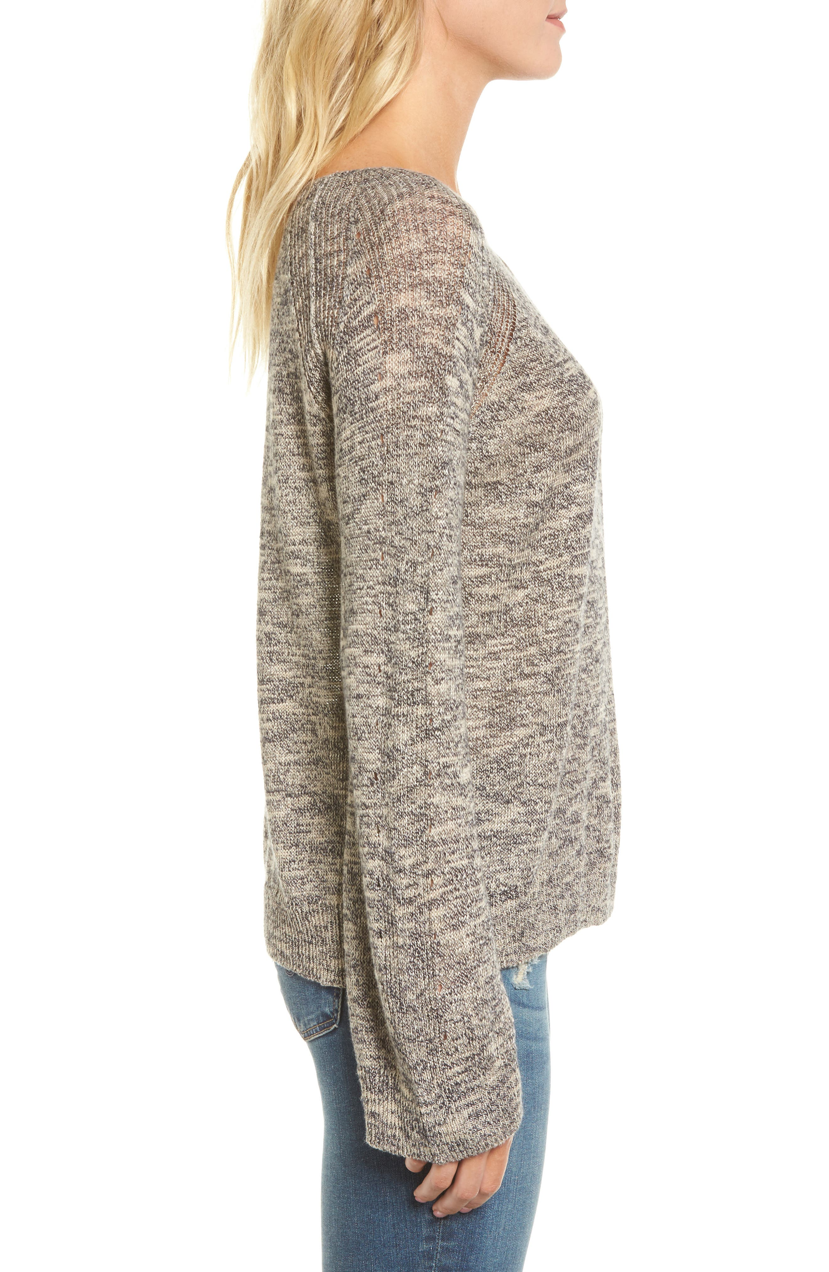 Flora Sweater,                             Alternate thumbnail 3, color,                             Speckled Navy/ Beige
