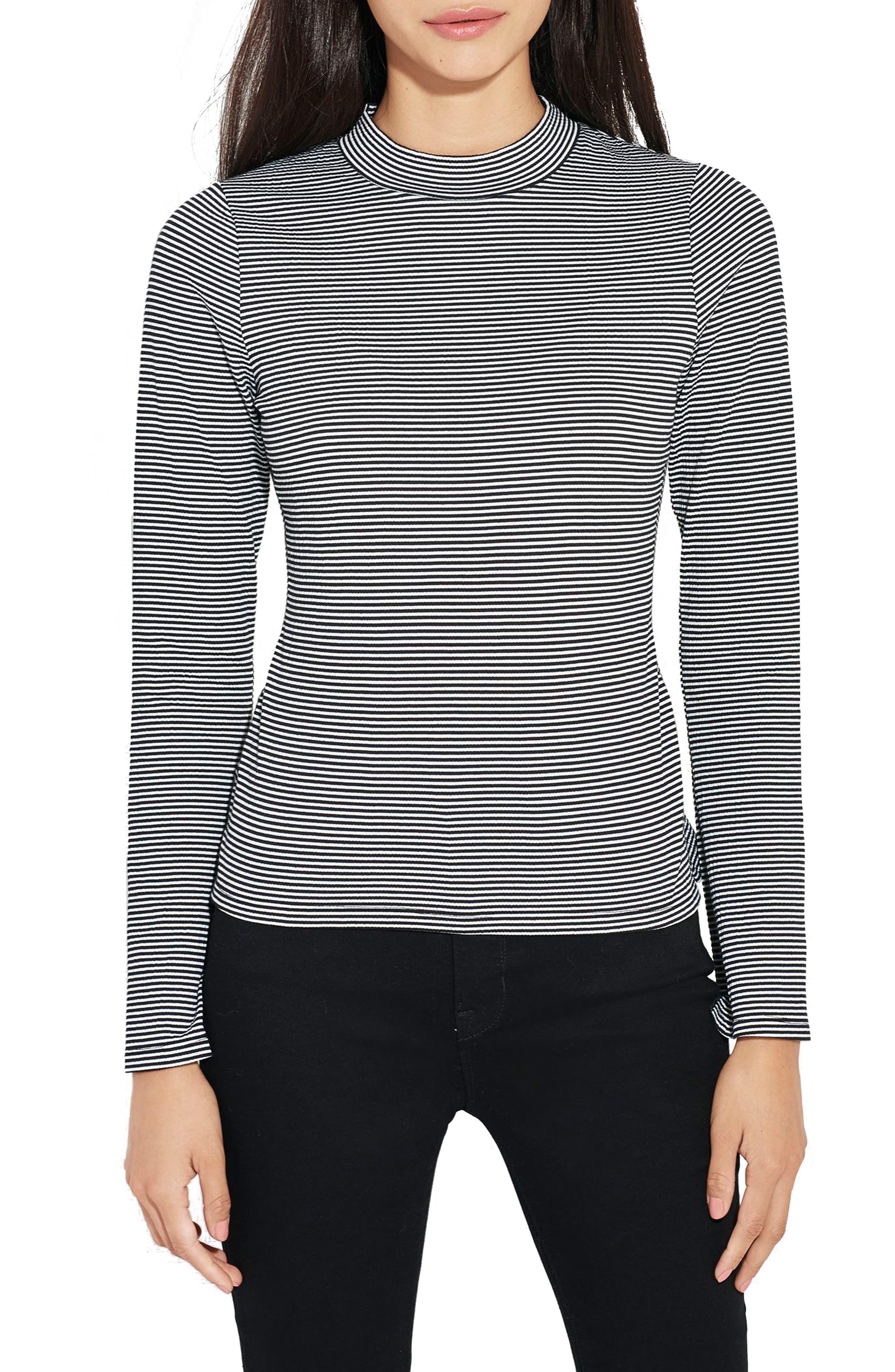 The Slope Stripe Top,                         Main,                         color, Black/ White