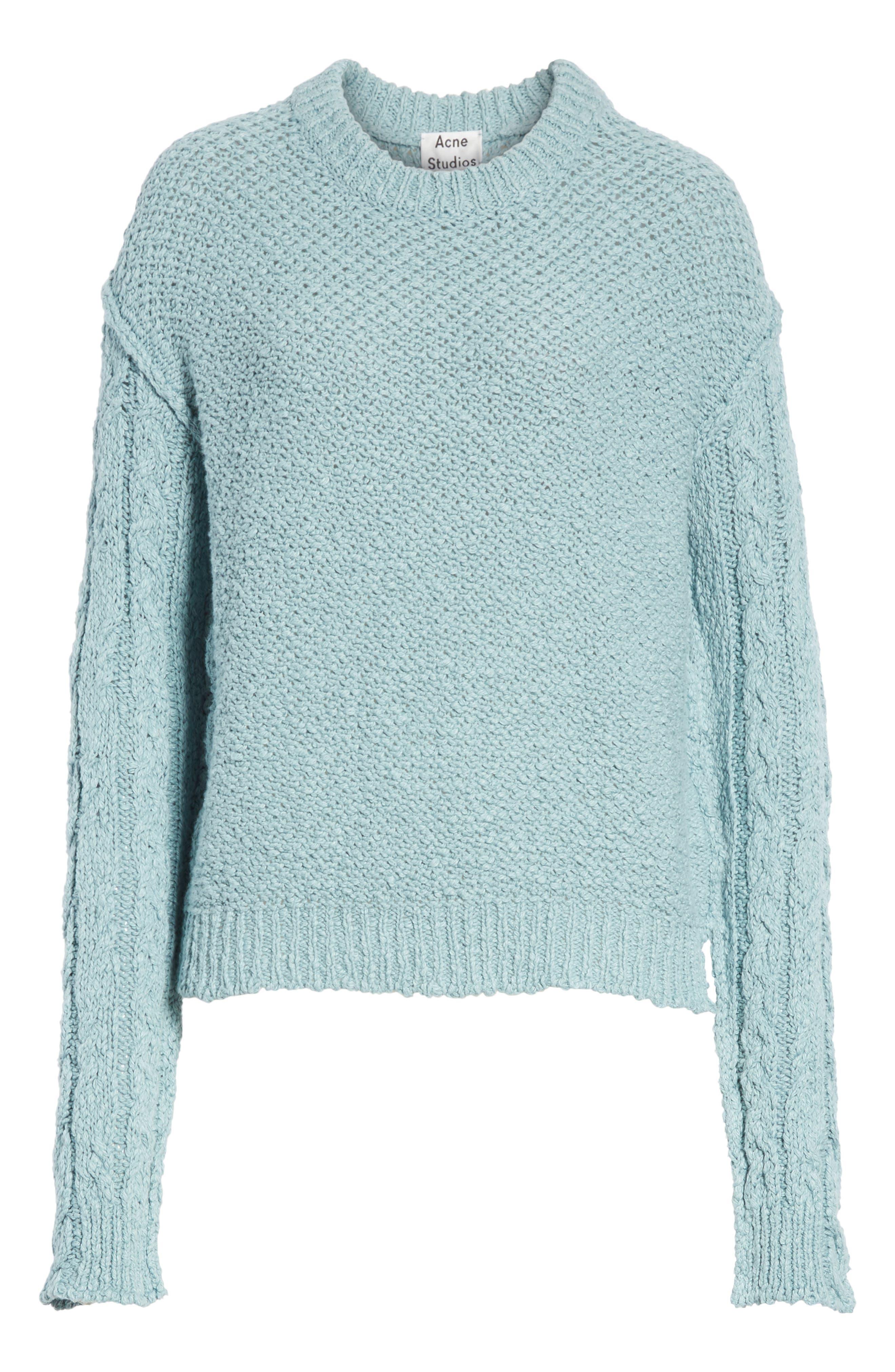 Hila Cable Sleeve Sweater,                             Main thumbnail 1, color,                             Blue