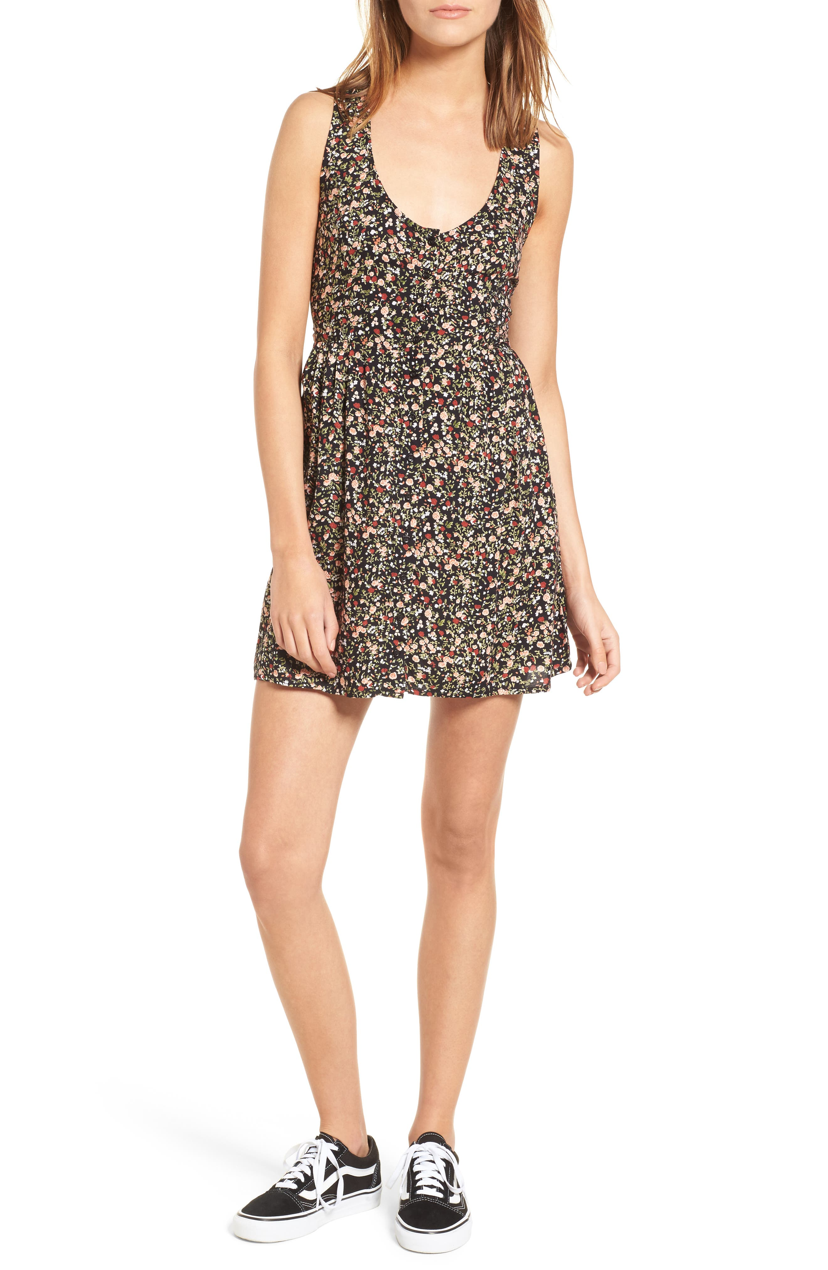 Chase Knot Back Dress,                         Main,                         color, Black Multi