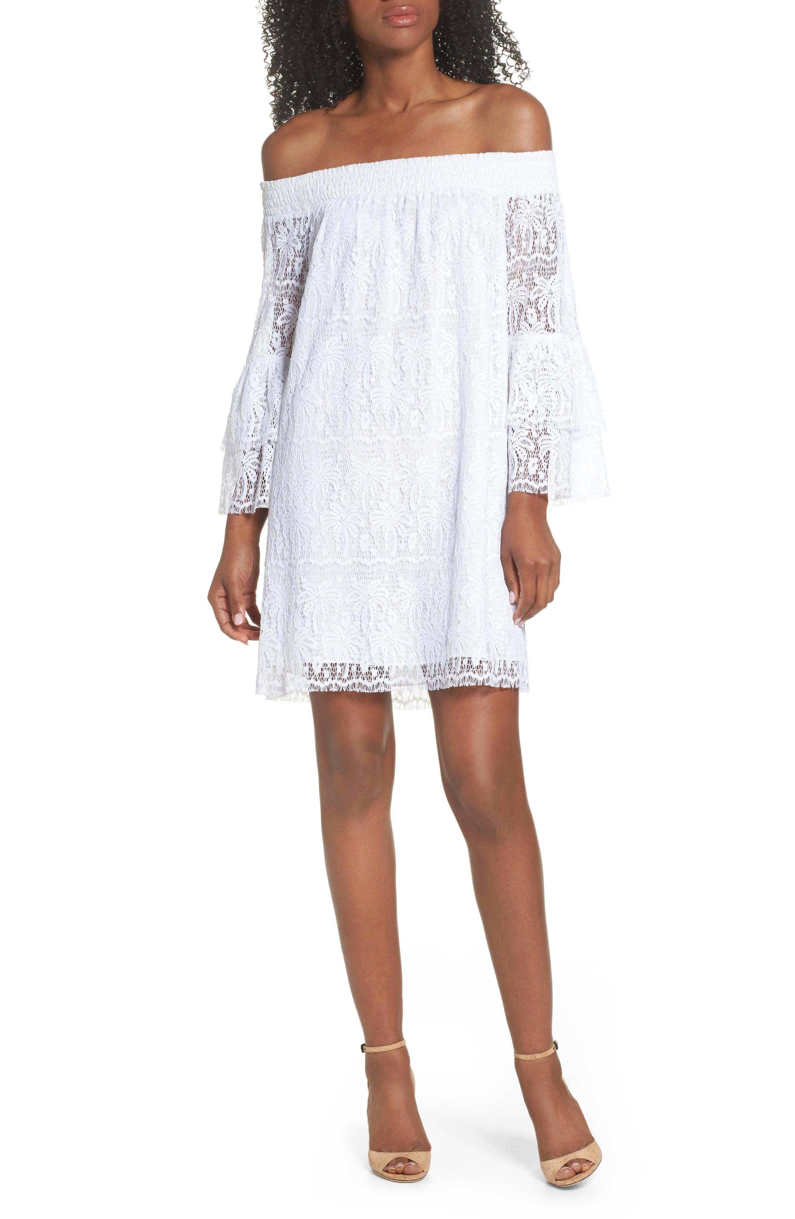 Tobyn Off the Shoulder Dres,                             Main thumbnail 1, color,                             Resort White Palm Tree Lace